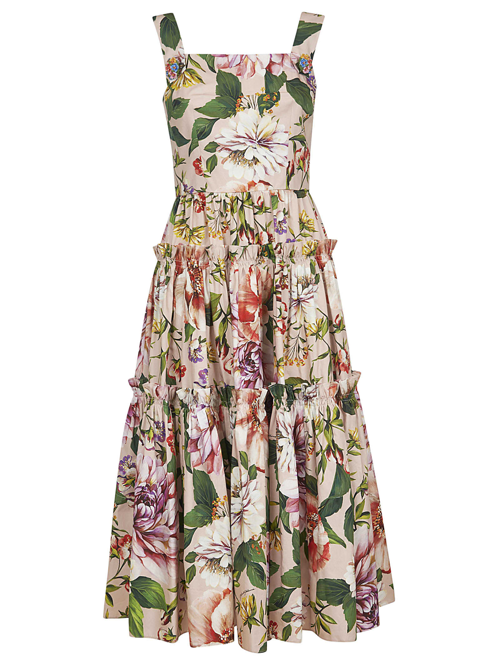 Buy Dolce & Gabbana Floral Print Flared Dress online, shop Dolce & Gabbana with free shipping