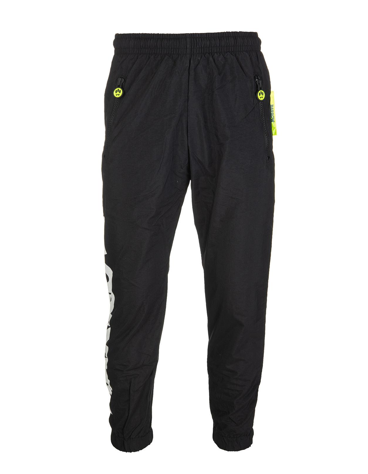 Barrow Unisex Black Nylon Joggers With Logo In Nero