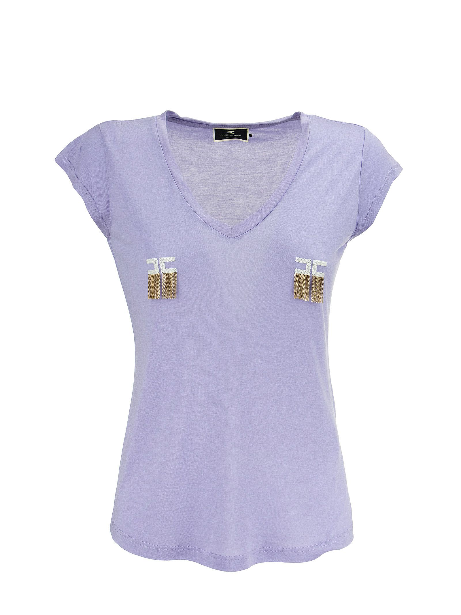 Elisabetta Franchi Celyn B. SHORT-SLEEVED T-SHIRT WITH LOGO AND MICRO CHAINS