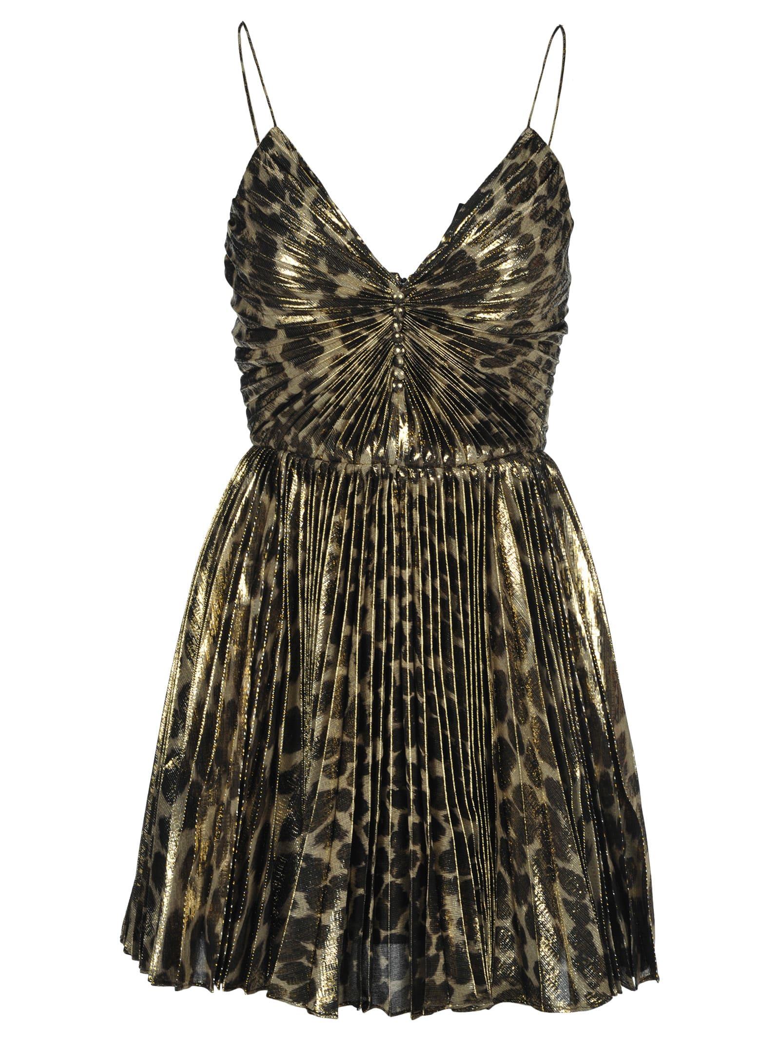 Saint Laurent Leopard Print Pleated Dress