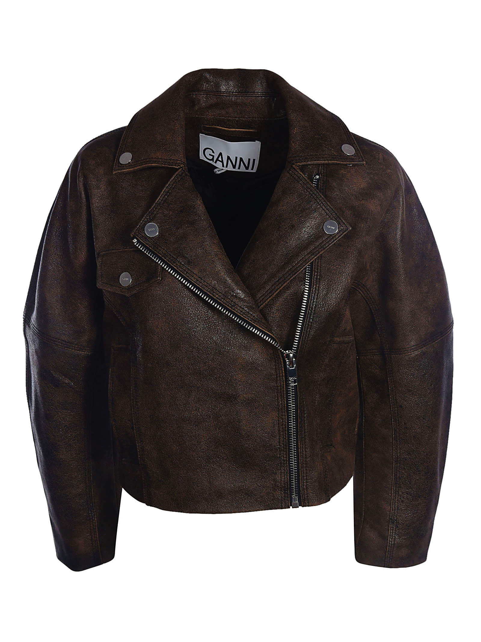 GANNI Leathers WASHED LEATHER JACKET