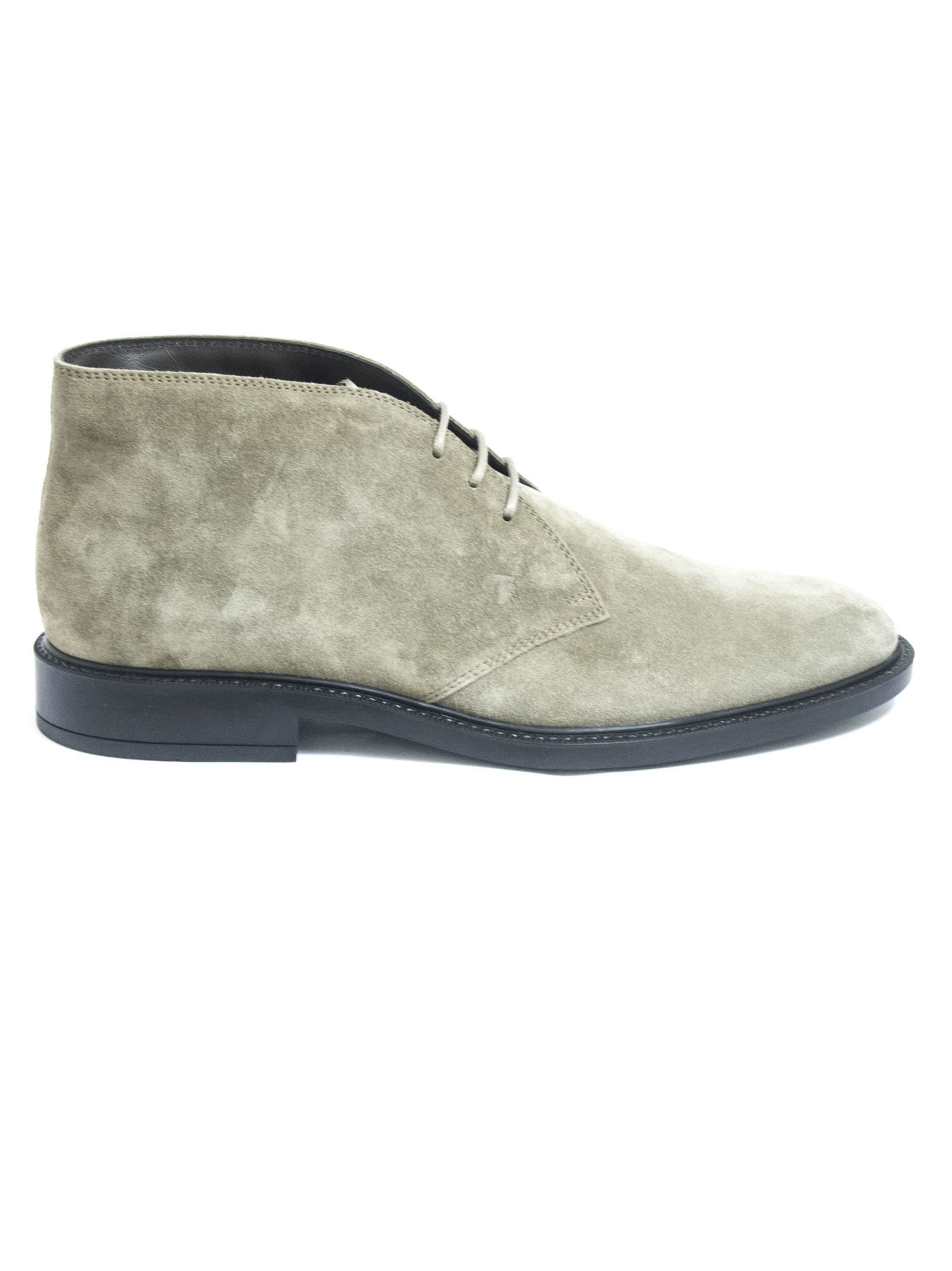 Tods Short Ankle Boots In Beige Suede