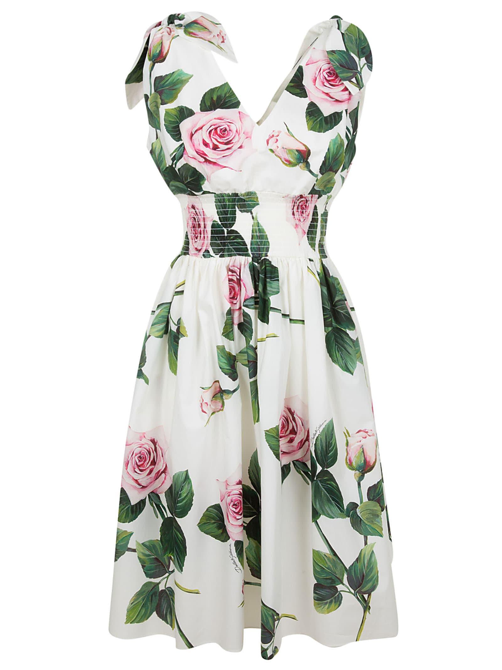 Buy Dolce & Gabbana Rose Print Flared Dress online, shop Dolce & Gabbana with free shipping