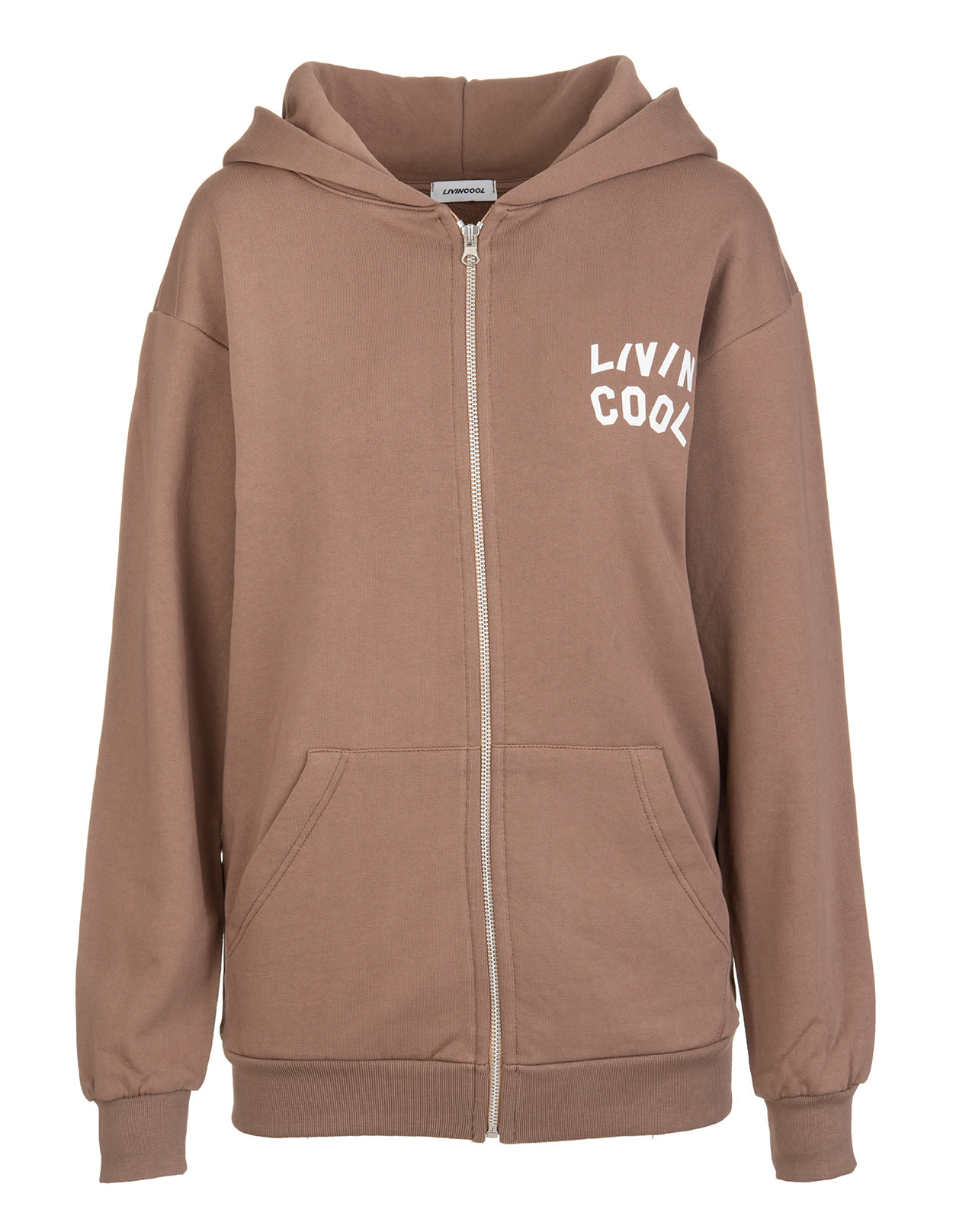 Woman Brown Hoodie With Zip And Logo Printed Front And Back