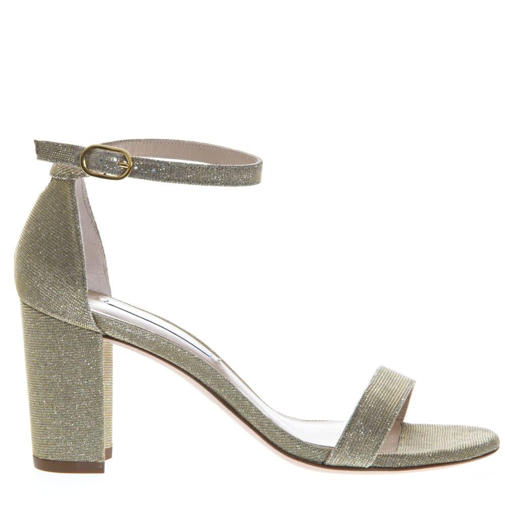 Stuart Weitzman Gold Glossy Fabric Open Toe Sandals