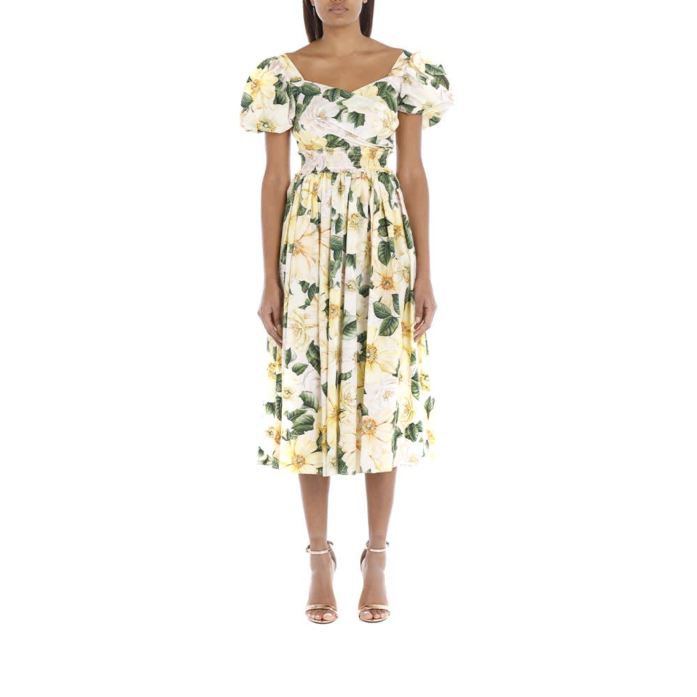 Buy Camellia-print Flared Dress online, shop Dolce & Gabbana with free shipping