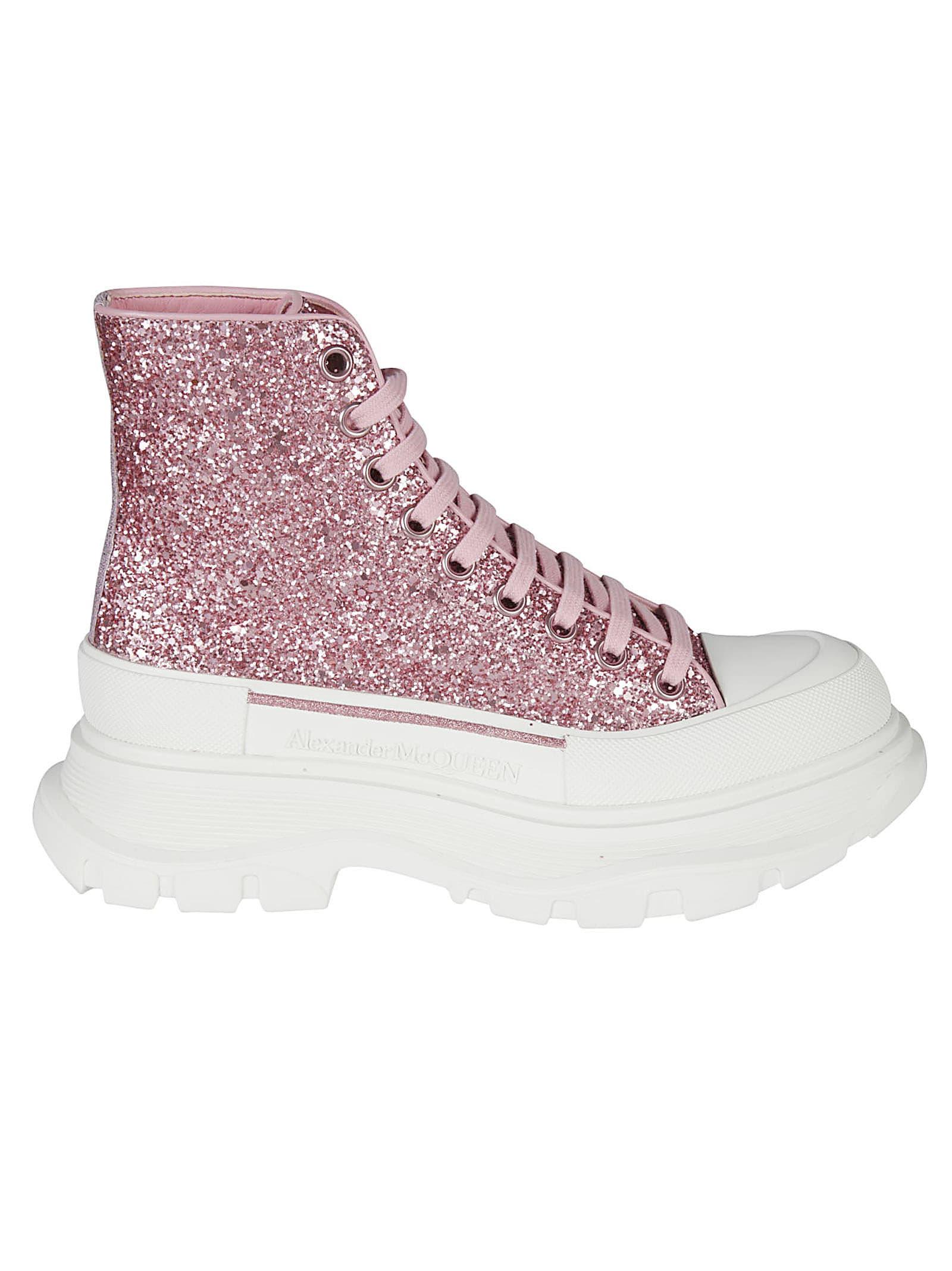 Alexander McQueen Glitter Embellished Wedge Sneakers