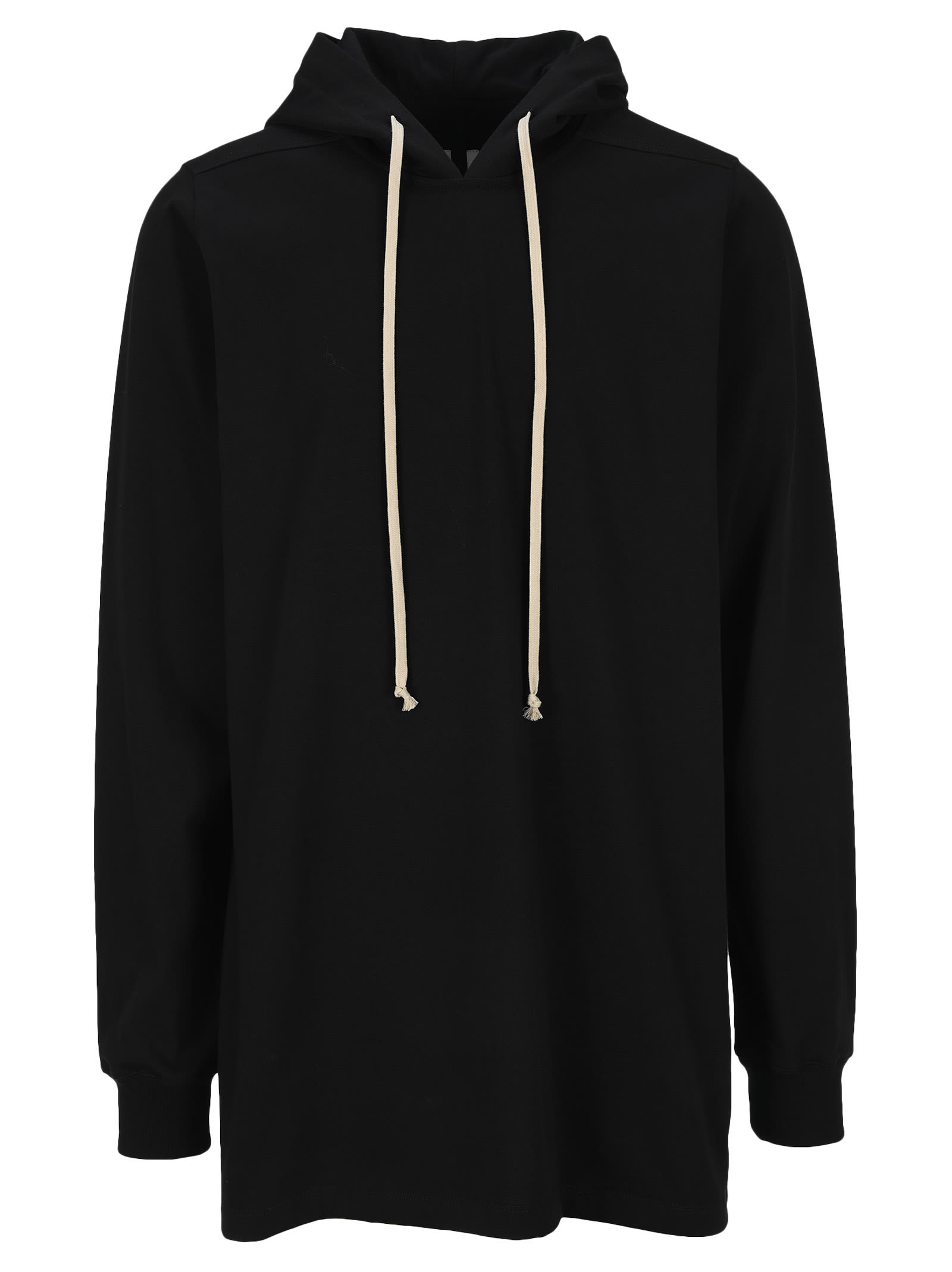 Black Cotton Oversized Hoodie By Rick Owens. Featuring: - Drawstring Dood; - Long Sleeves; - Ribbed Cuffs; - Ovesized Fit; - Long Length; - Curved Hem. Composition: 100% COTTON