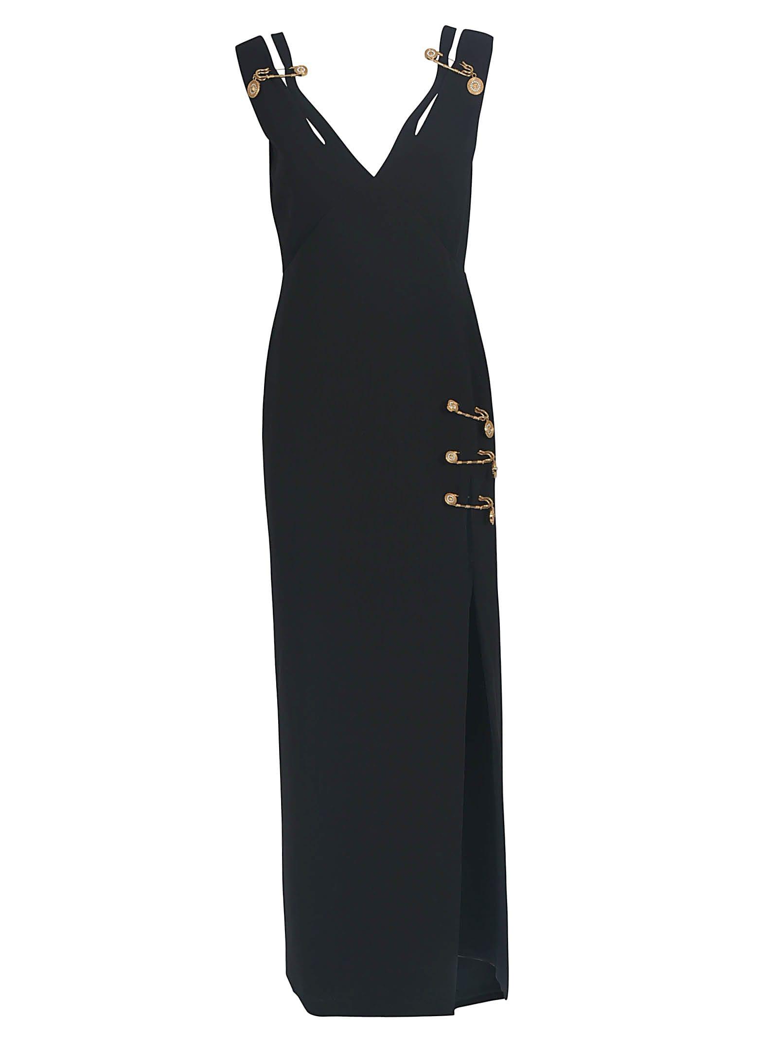 Versace Silks SAFETY PIN EMBELLISHED V-NECK LONG DRESS