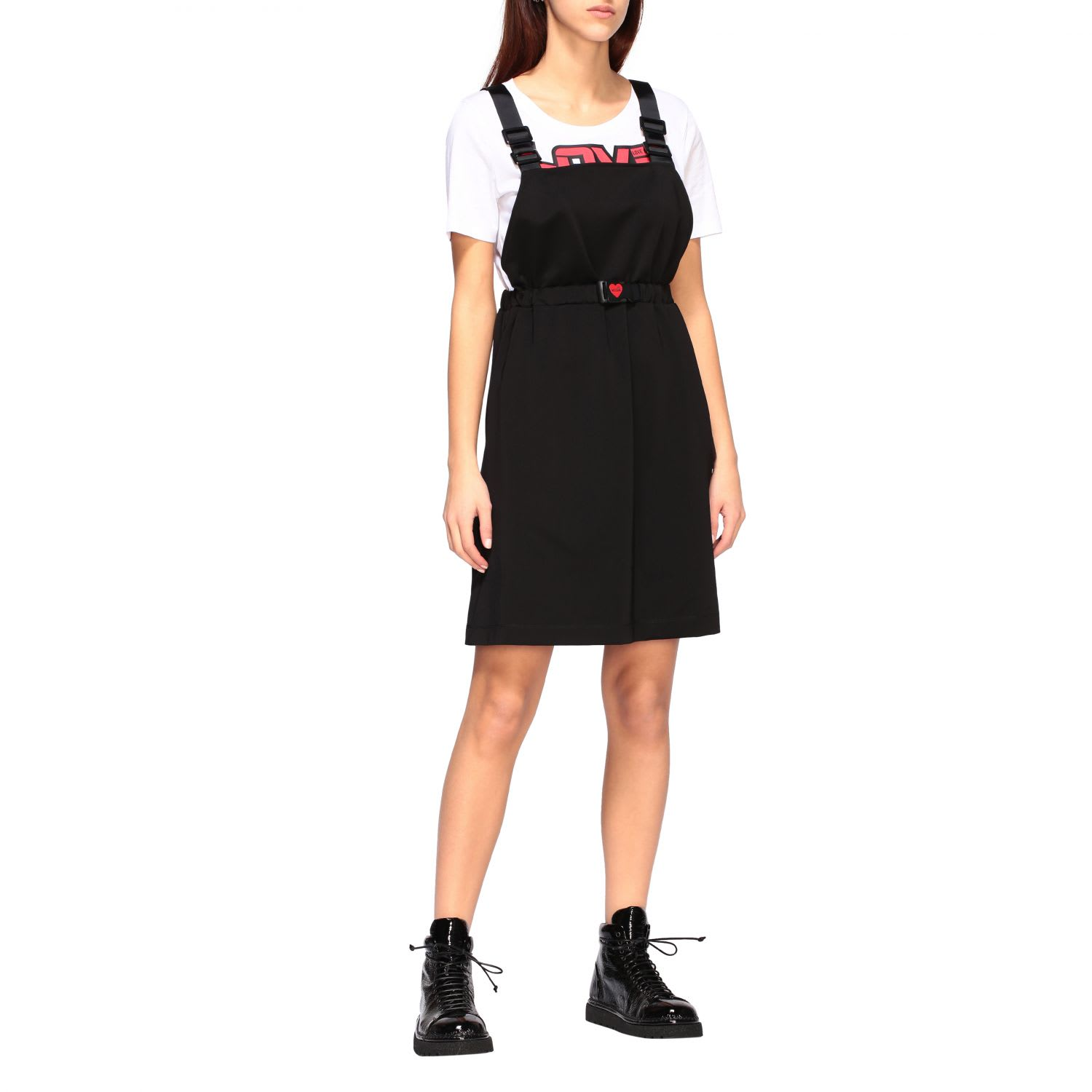 Buy Love Moschino Dress Love Moschino Dress With T-shirt And Dungarees With Logo Print online, shop Love Moschino with free shipping