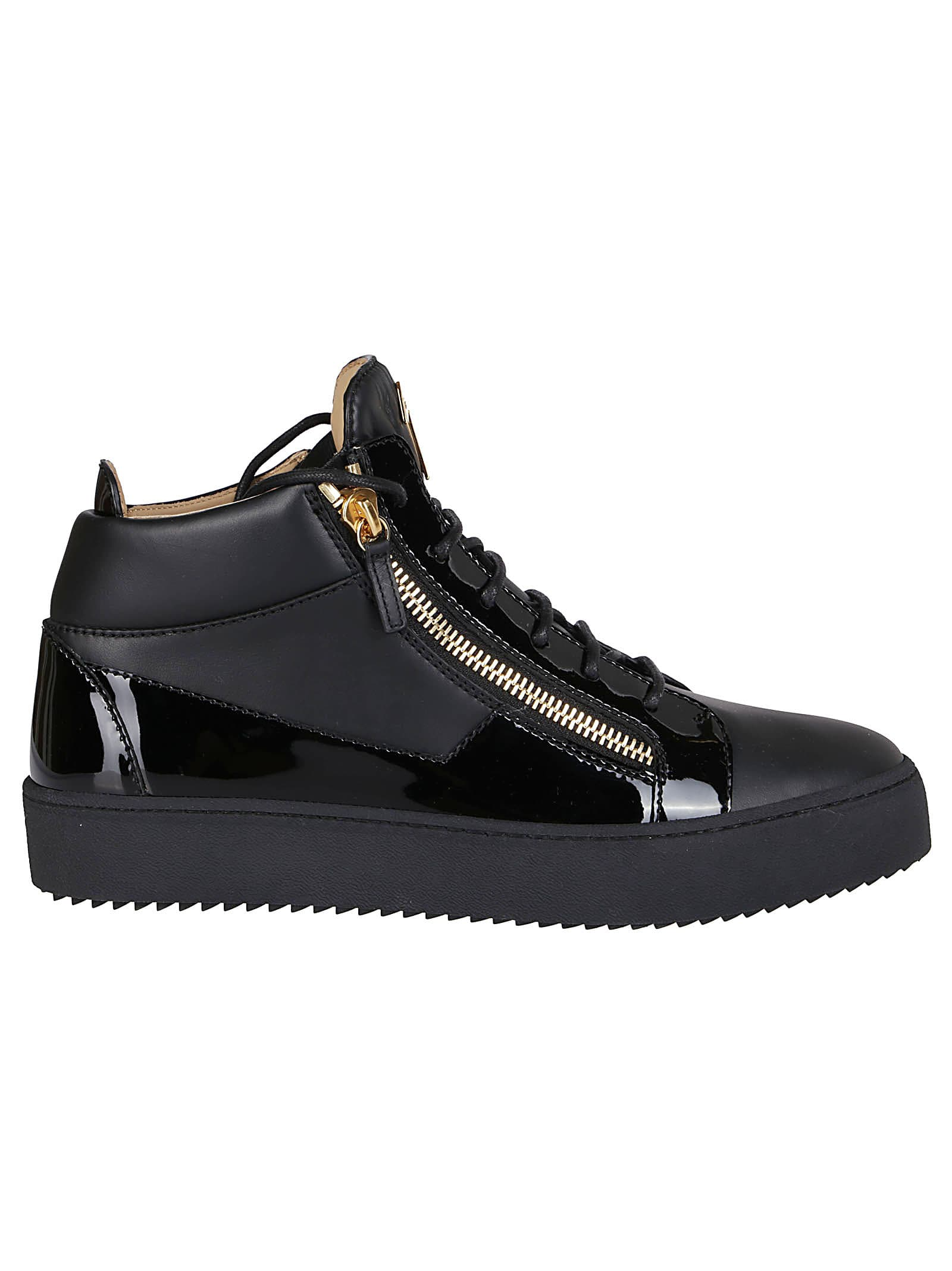 GIUSEPPE ZANOTTI BLACK LEATHER SNEAKERS