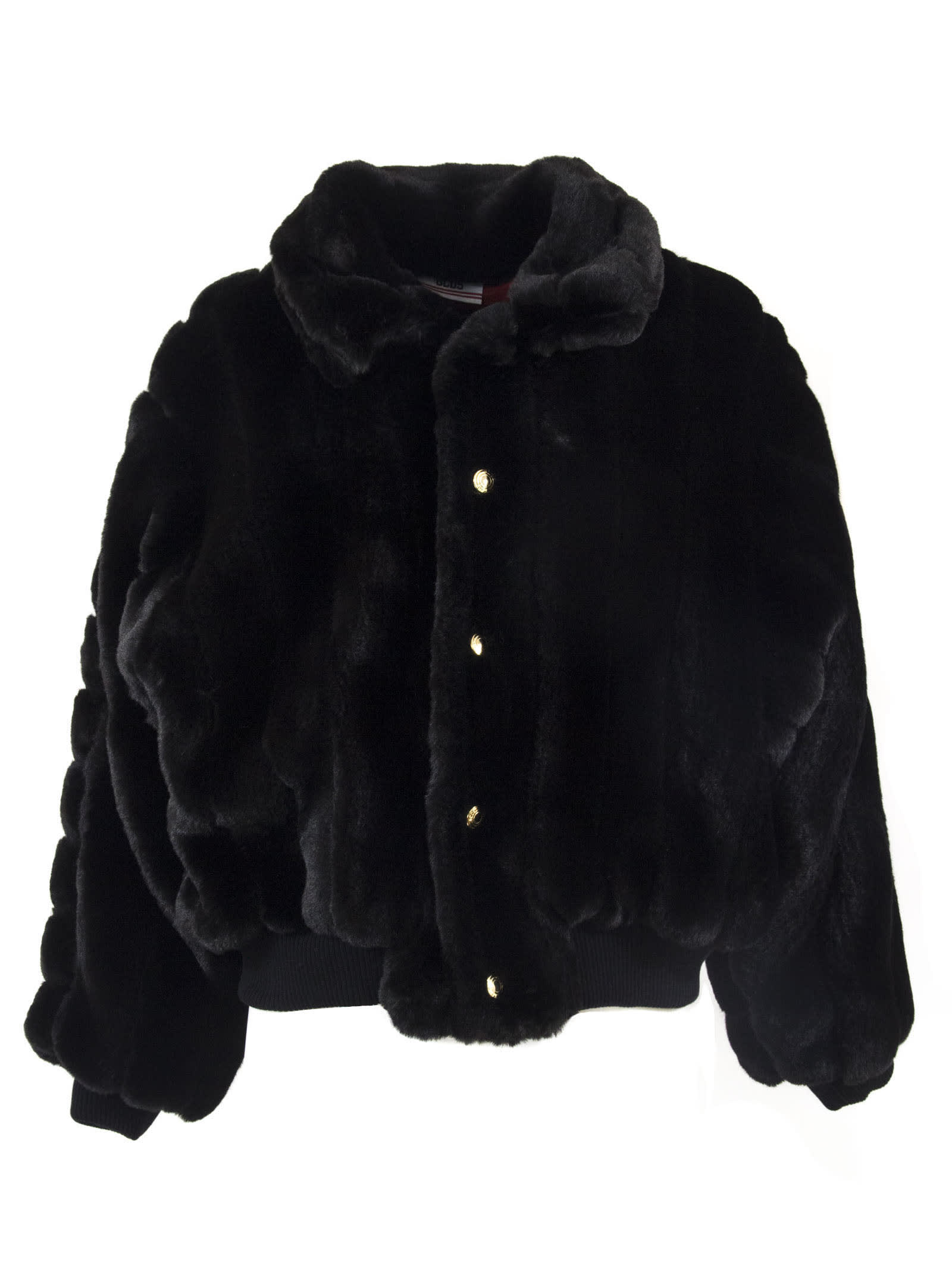 GCDS Black Oversized Faux Fur Jacket
