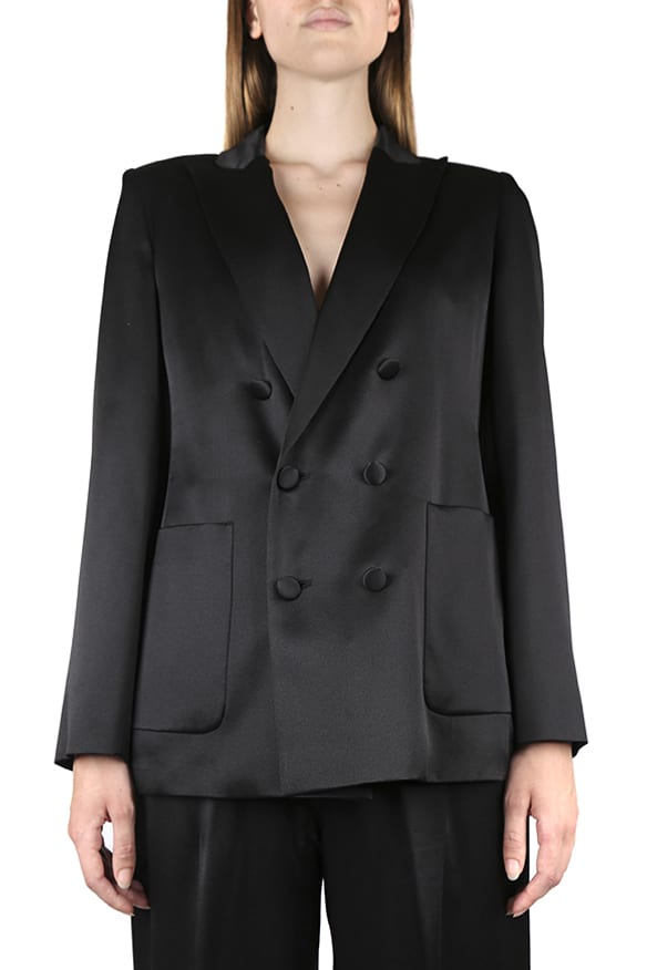 Max Mara DOUBLE-BREASTED BLAZER IN MOHAIR BLEND SILK