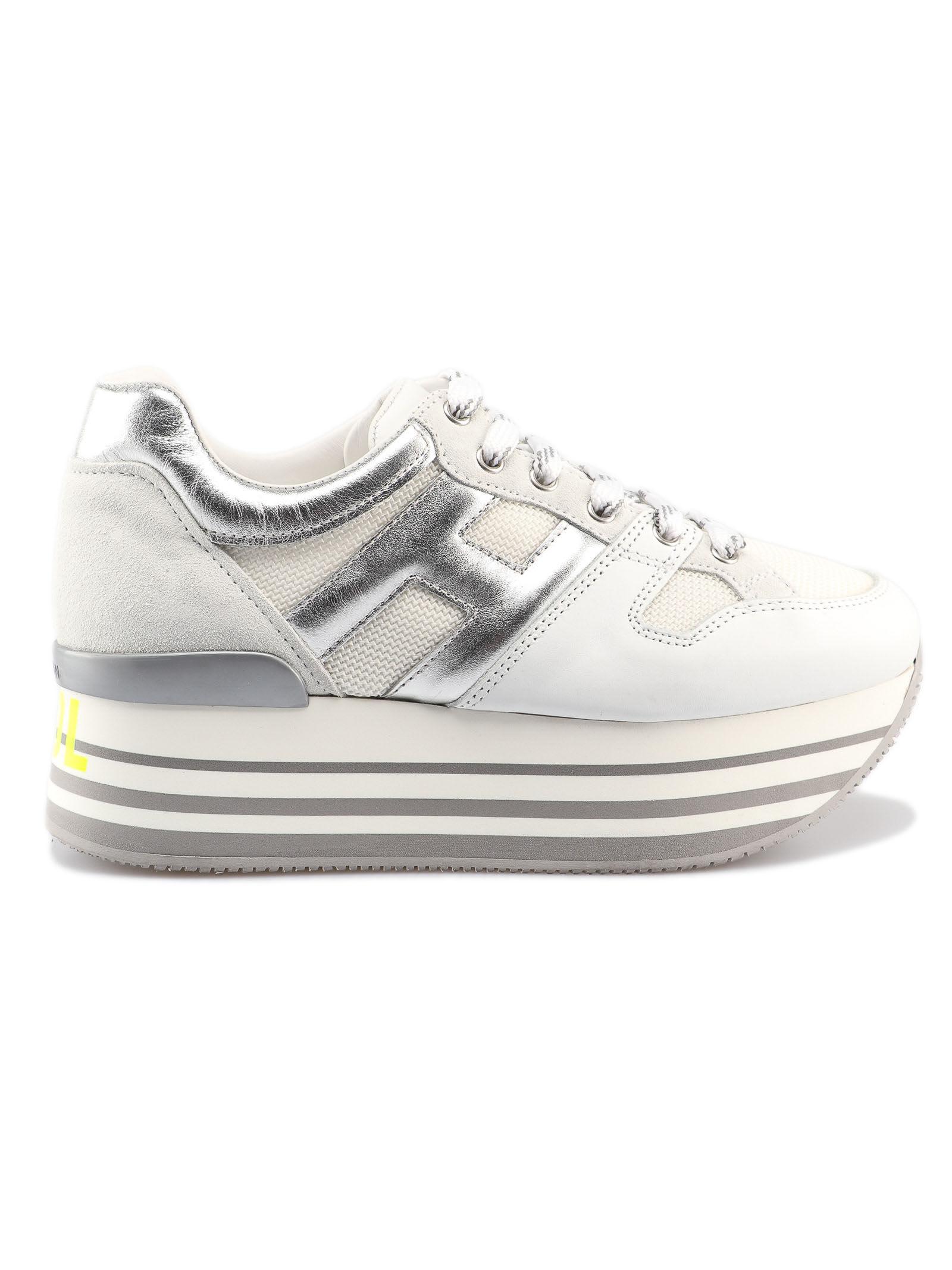 80ab5649 Hogan Hogan Max Stay Cool Platform Sneakers - Bianco Argento ...