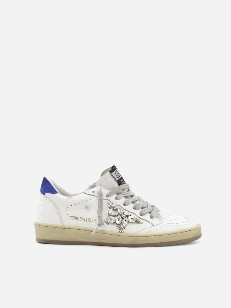 Golden Goose Ballstar Sneakers In Leather With Crystal Detail