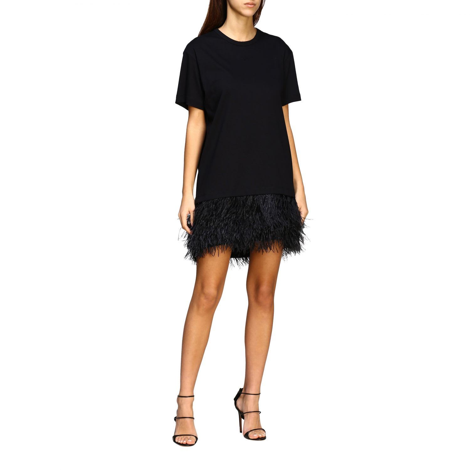 Buy N° 21 Dress N ° 21 Short Dress In Cotton Jersey With Feather Bottom online, shop N.21 with free shipping