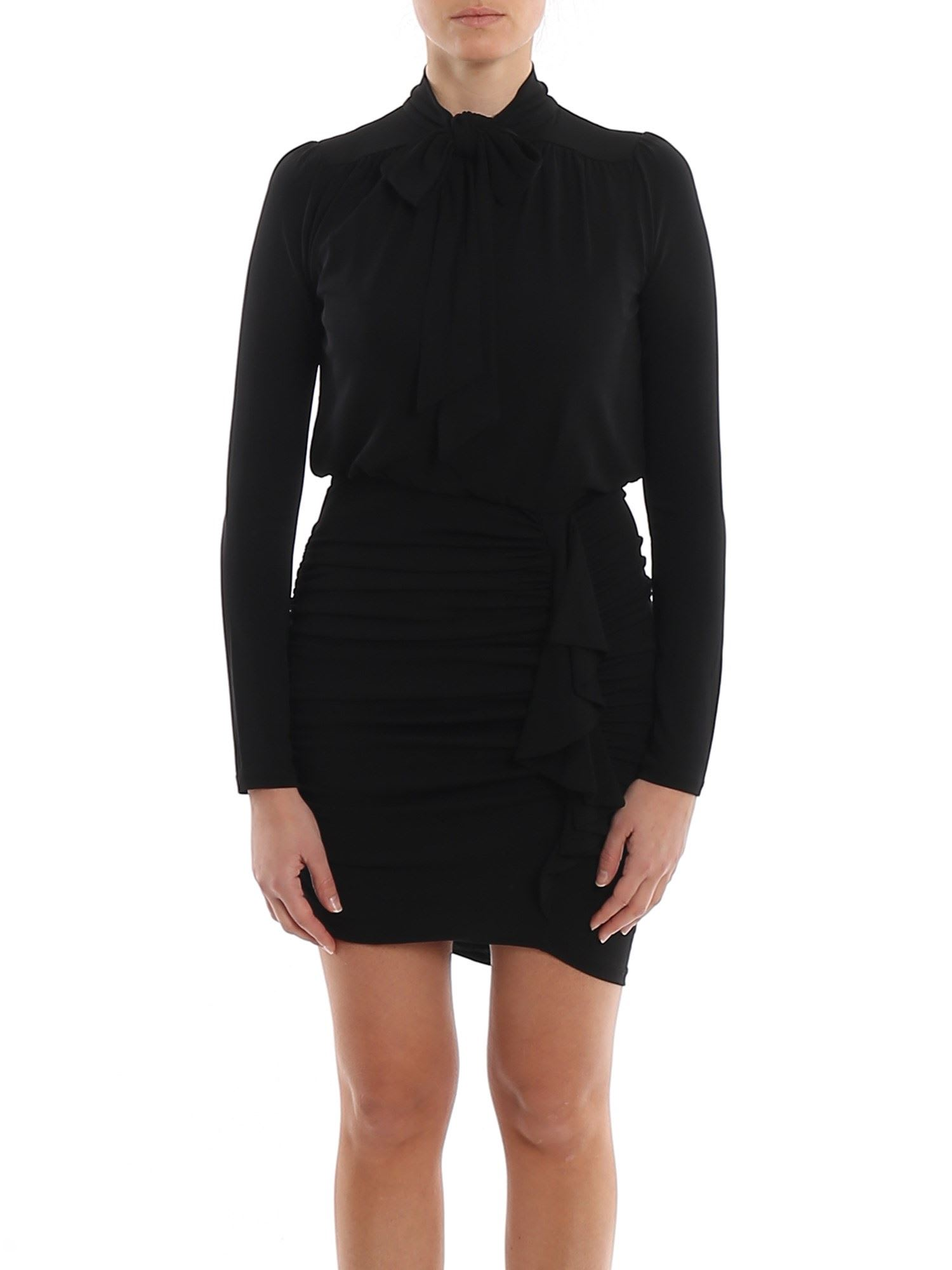 Buy Matte Black Jersey Draped Dress online, shop MICHAEL Michael Kors with free shipping