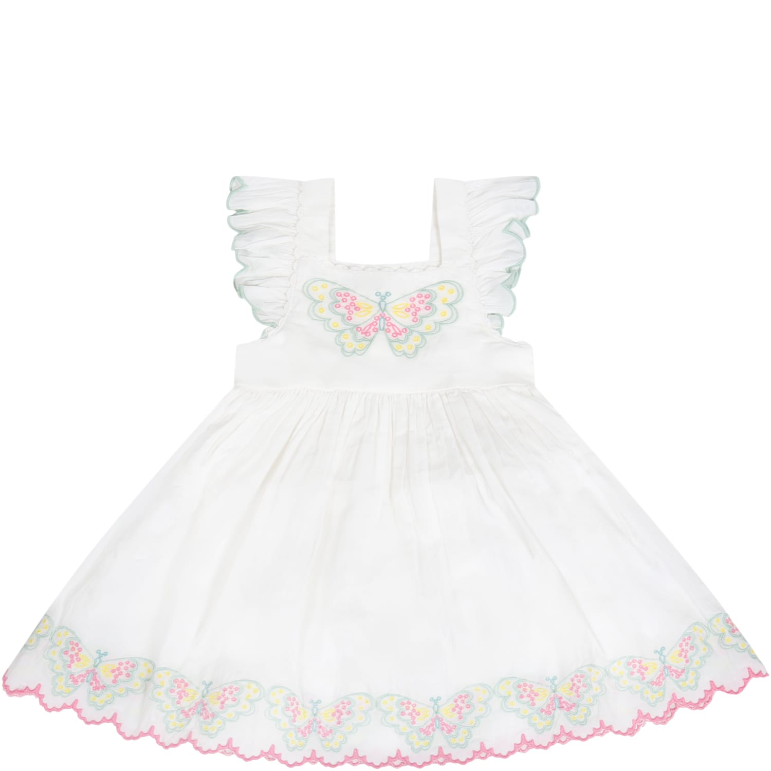 Stella Mccartney Cottons WHITE DRESS FOR BABYGIRL WITH BUTTERFLIES