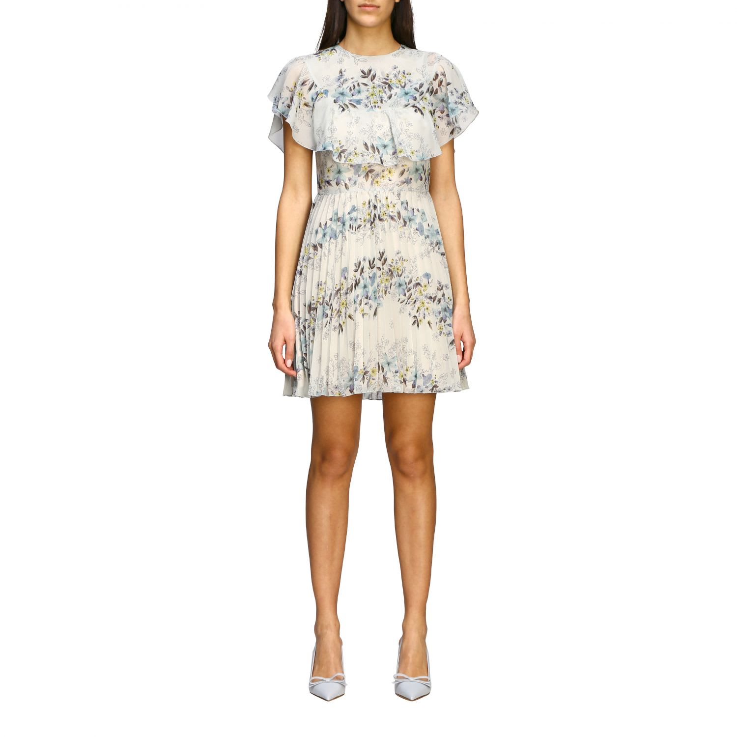 Buy Red Valentino Dress Red Valentino Pleated Silk Dress With Floral Print online, shop RED Valentino with free shipping