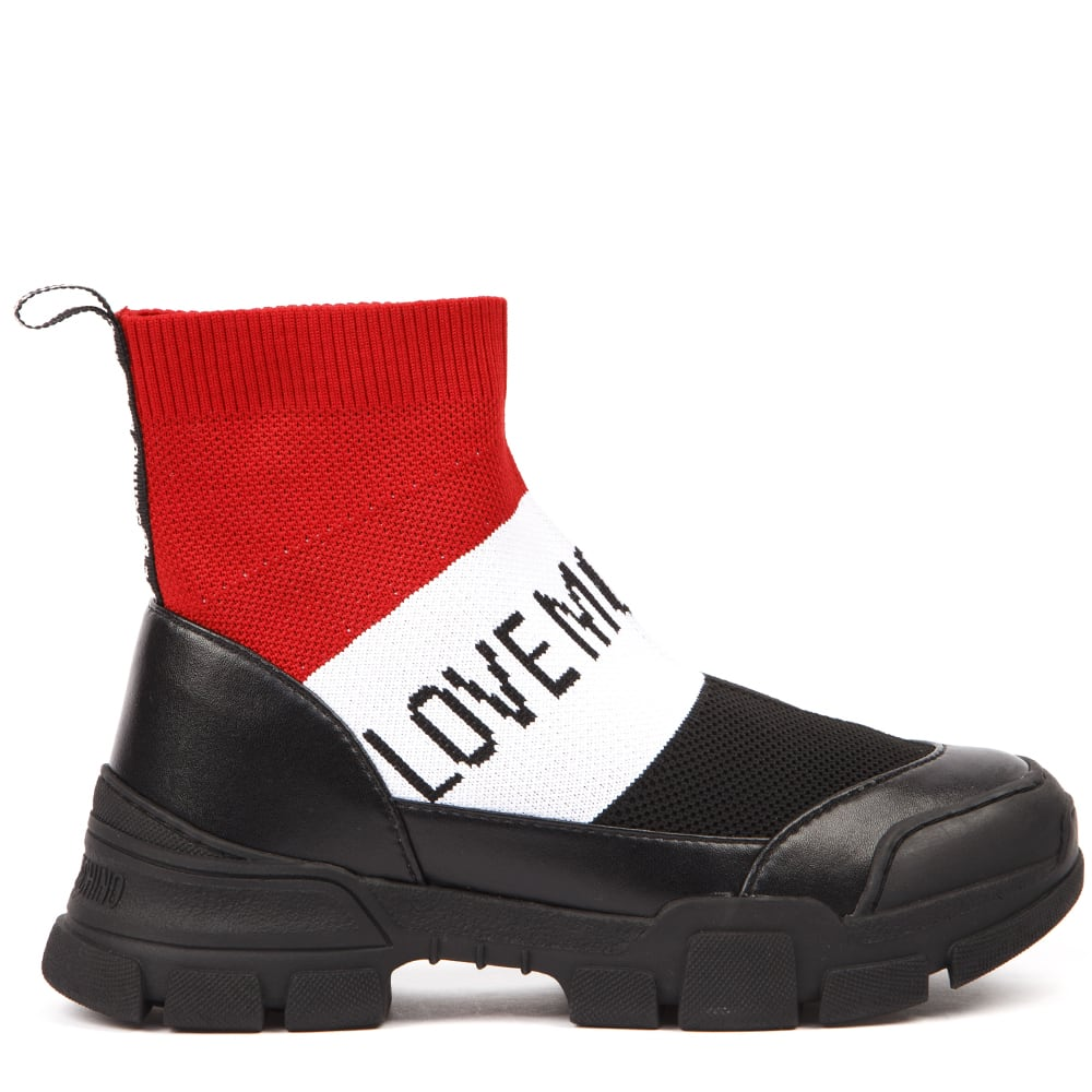 Love Moschino Love Moschino Red & Black Elastic Socks Ankle Boots