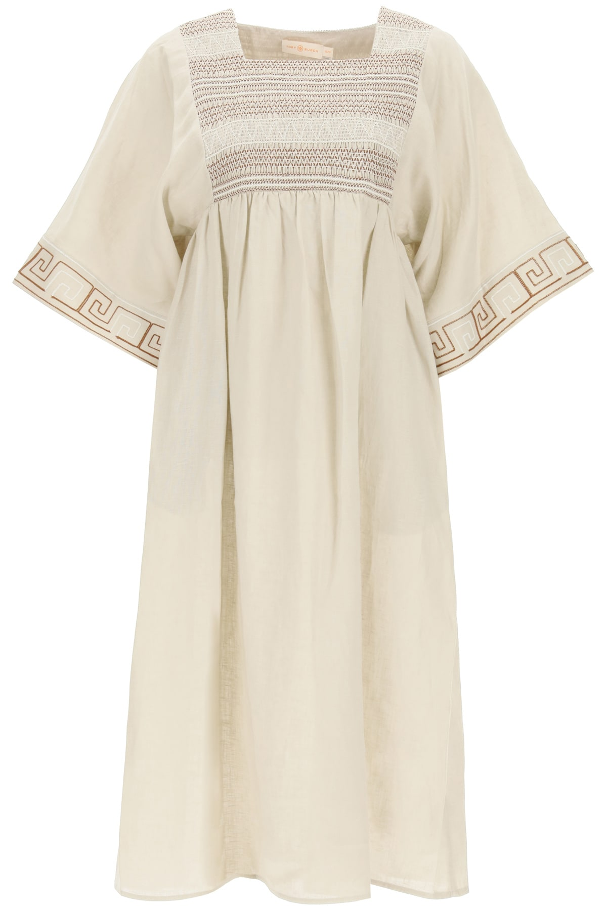 Tory Burch Clothing EMBROIDERED LINEN CAFTAN DRESS