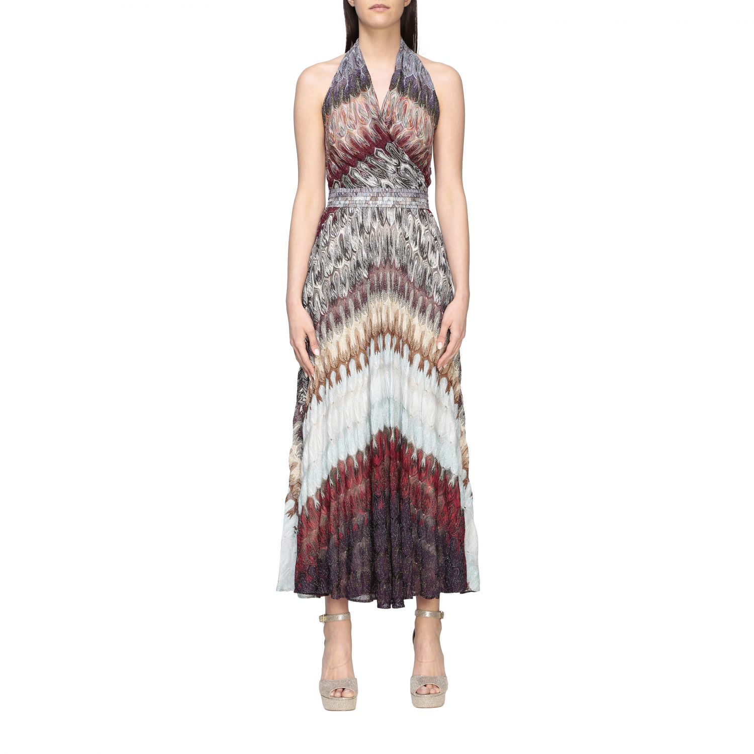 Buy Missoni Dress Missoni Maxi Dress With American Neckline In Lurex Jacquard online, shop Missoni with free shipping