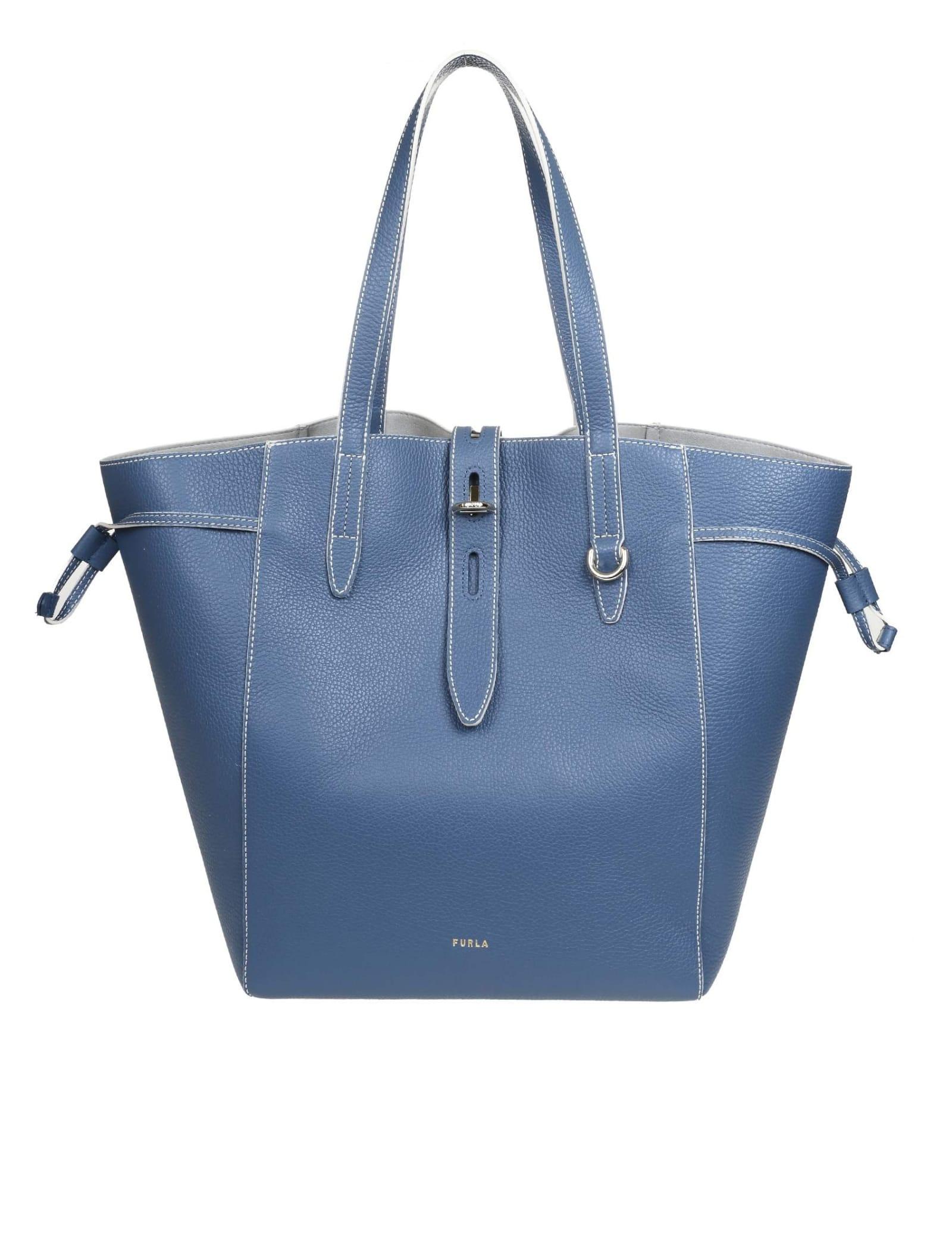 Furla Leathers SHOPPING NET BAG IN BLUE DENIM CALFSKIN