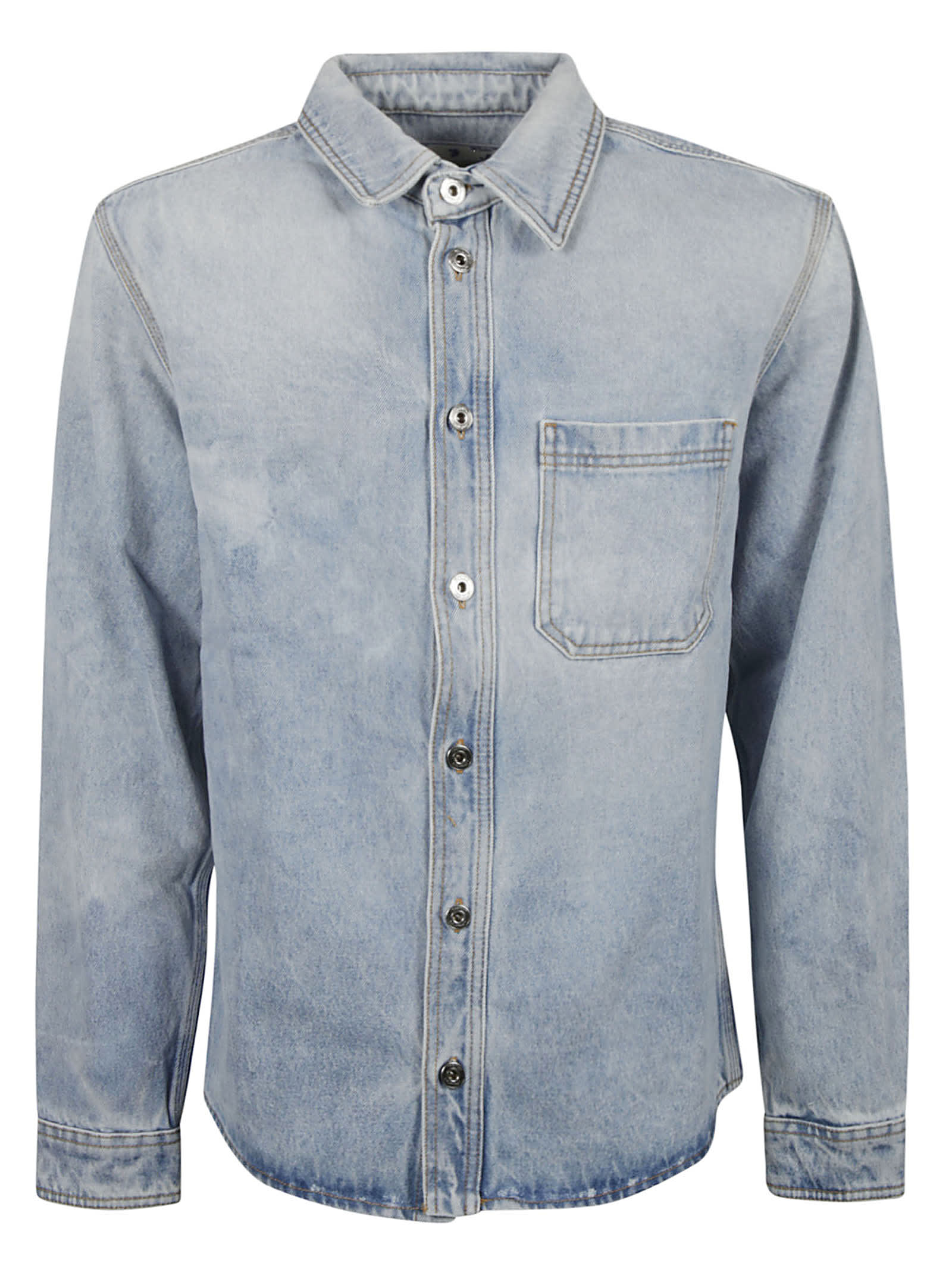 Off-white Negative Mark Denim Shirt In Bleach Blue/white