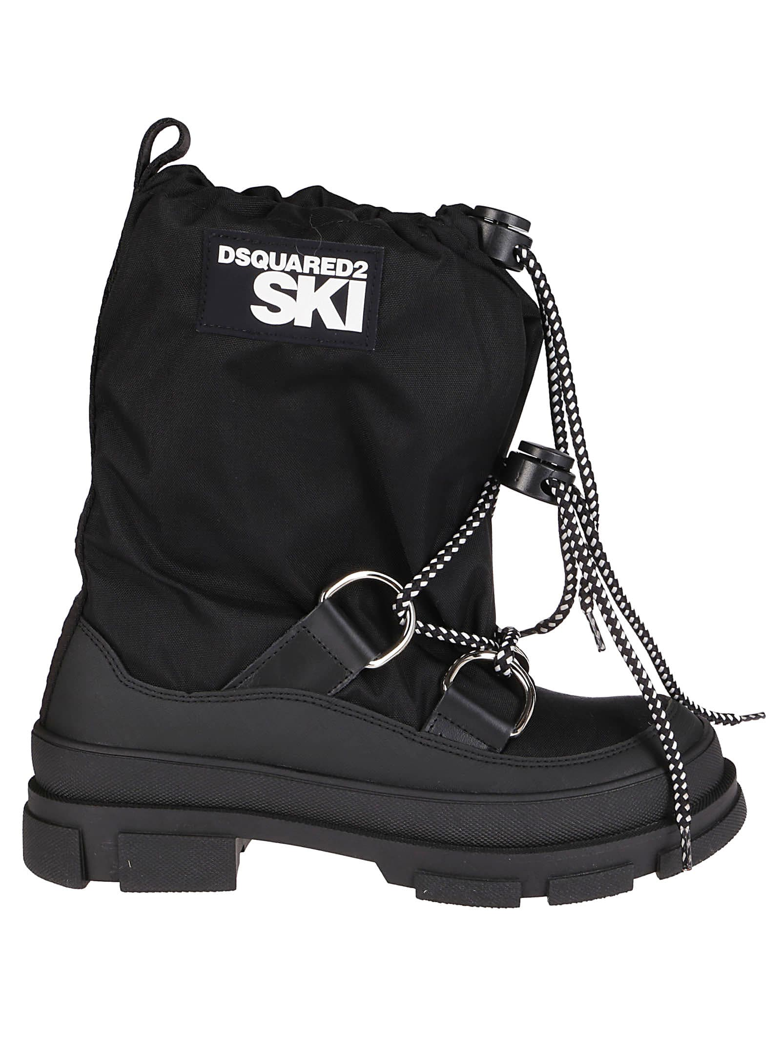 Dsquared2 BLACK LEATHER AND FABRIC SNOW BOOTS