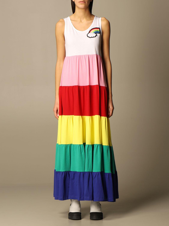 Love Moschino Dress Love Moschino Long Dress In Rainbow Cotton