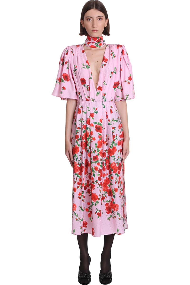 Magda Butrym Silks DRESS IN ROSE-PINK SILK