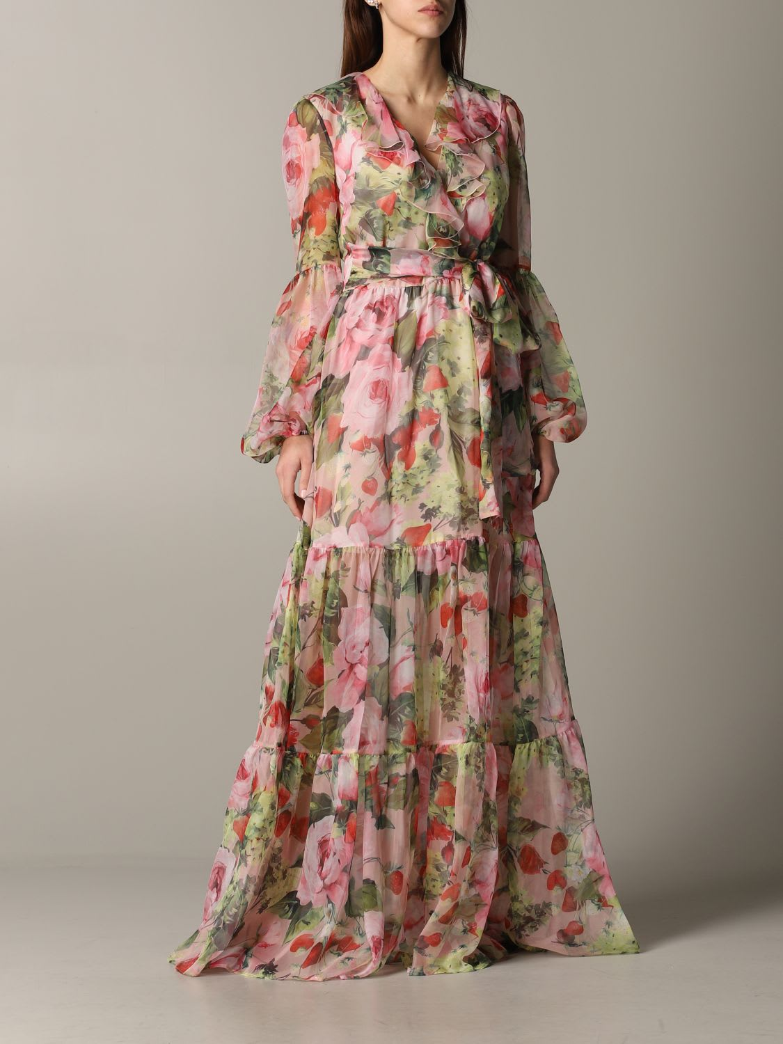 Buy Blumarine Dress Long Blumarine Dress In Floral Patterned Chiffon online, shop Blumarine with free shipping
