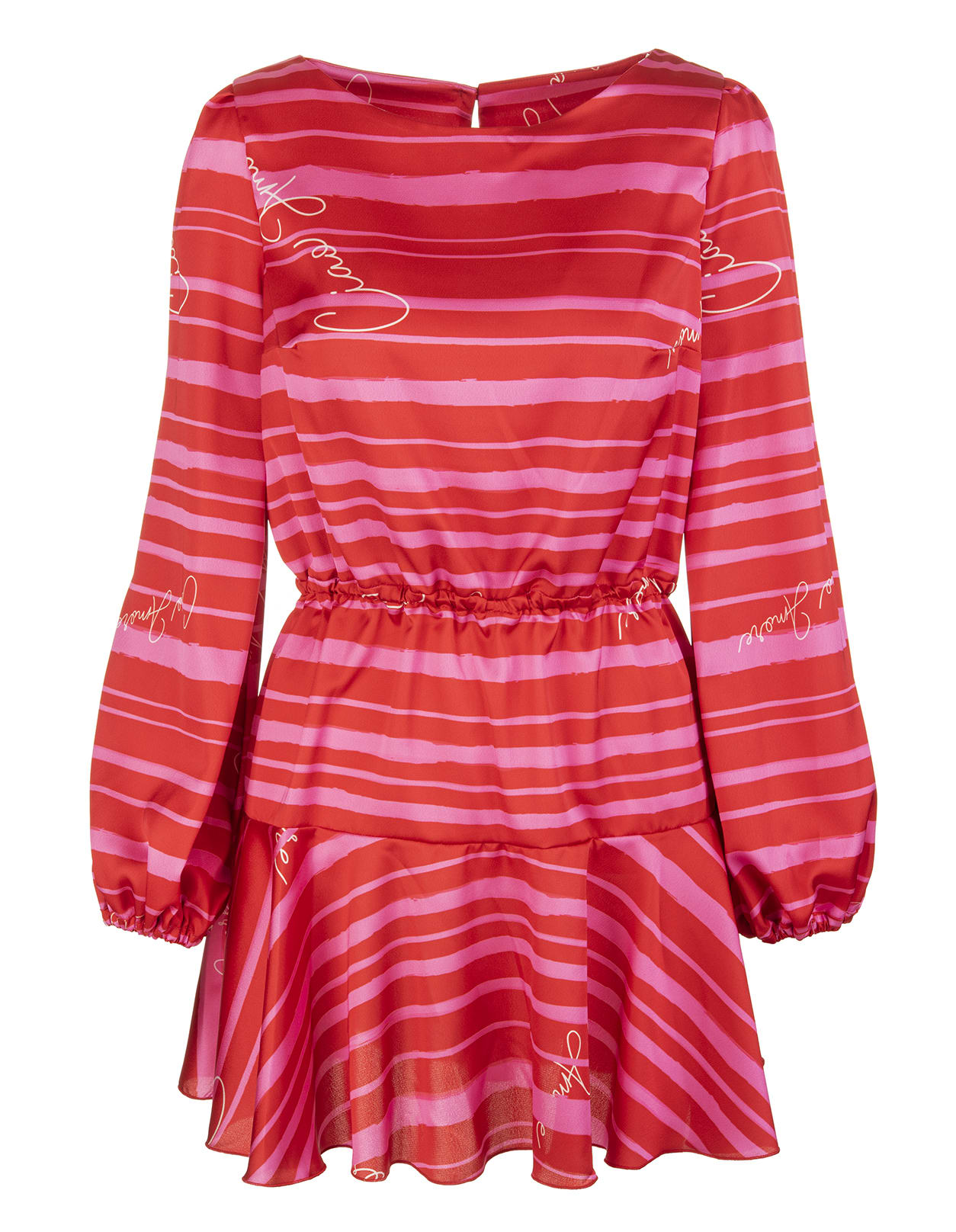 Pink And Red Striped Short Dress