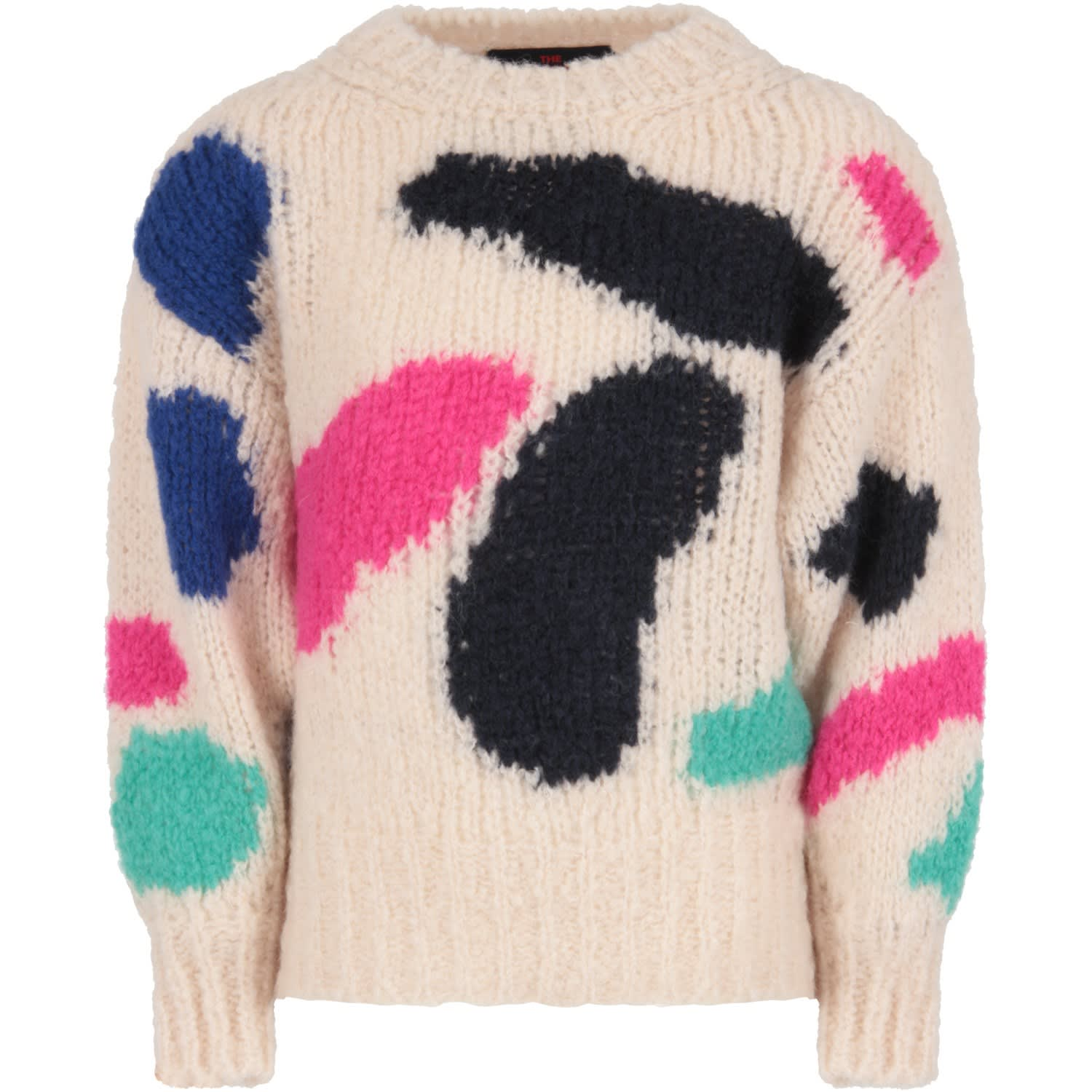The Animals Observatory IVORY GIRL SWEATER WITH COLORFUL GEOMETRIC FIGURES