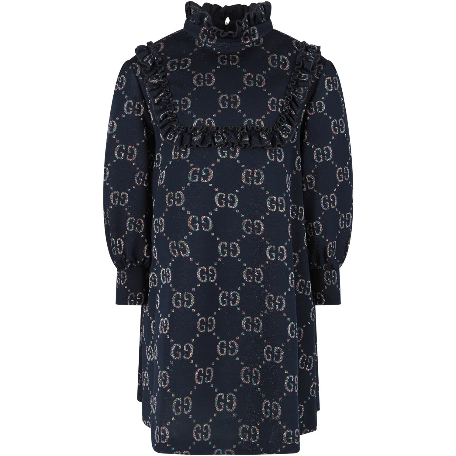 Gucci Blue Girl Dress With Iconic Gg All-over
