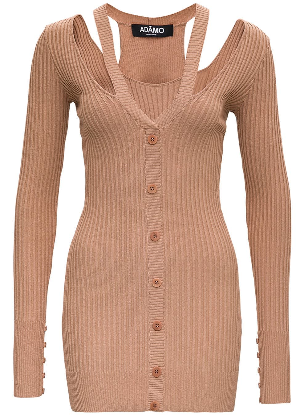 Buy Andrea Adamo Beige Ribbed Knit Dress online, shop Andrea Adamo with free shipping