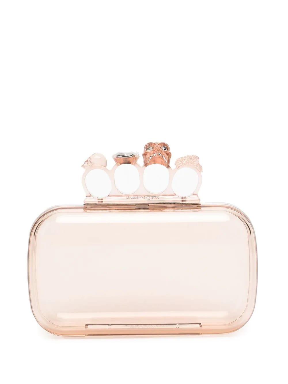 Alexander McQueen Transparent Pink Four-ring Skull Clutch