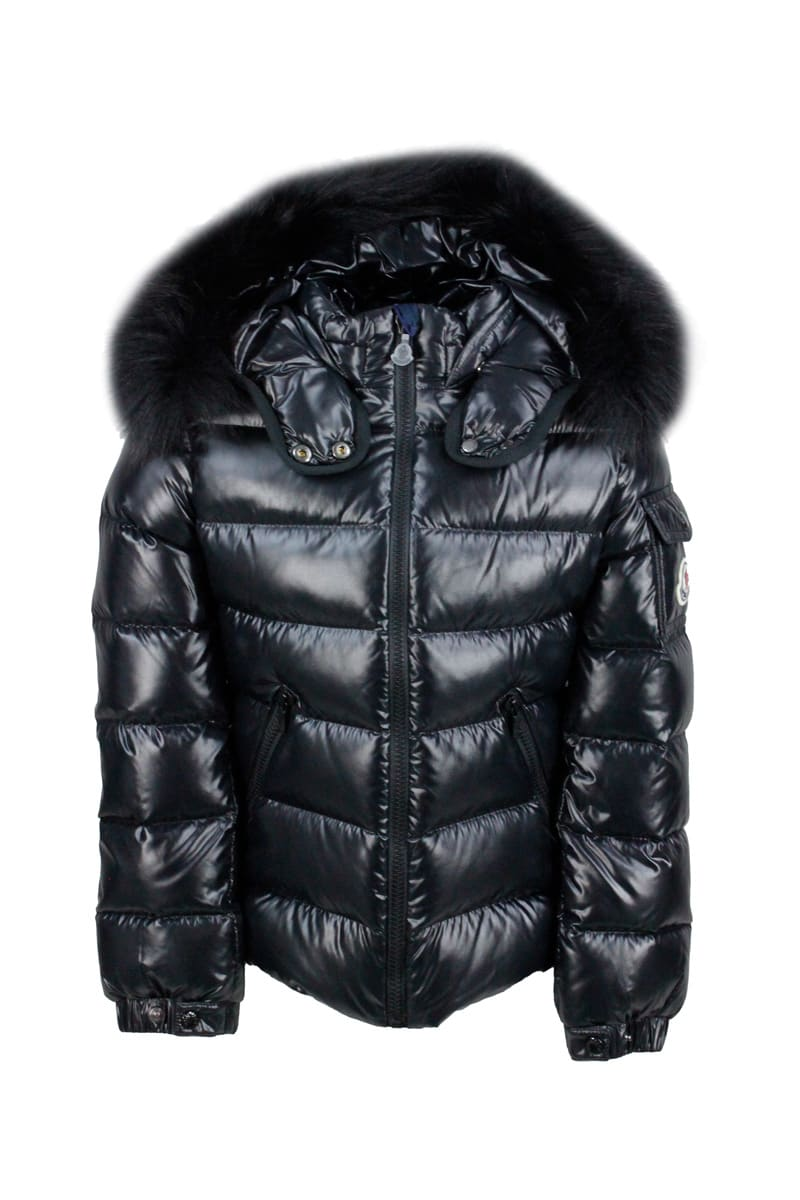 Moncler Down Jacket Bady Fur Jacket With Removable Hood With Detachable Fur In Real Goose Down