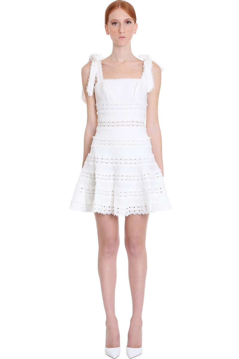 Buy Zimmermann Kirra Tie Shoul Dress In White Cotton online, shop Zimmermann with free shipping