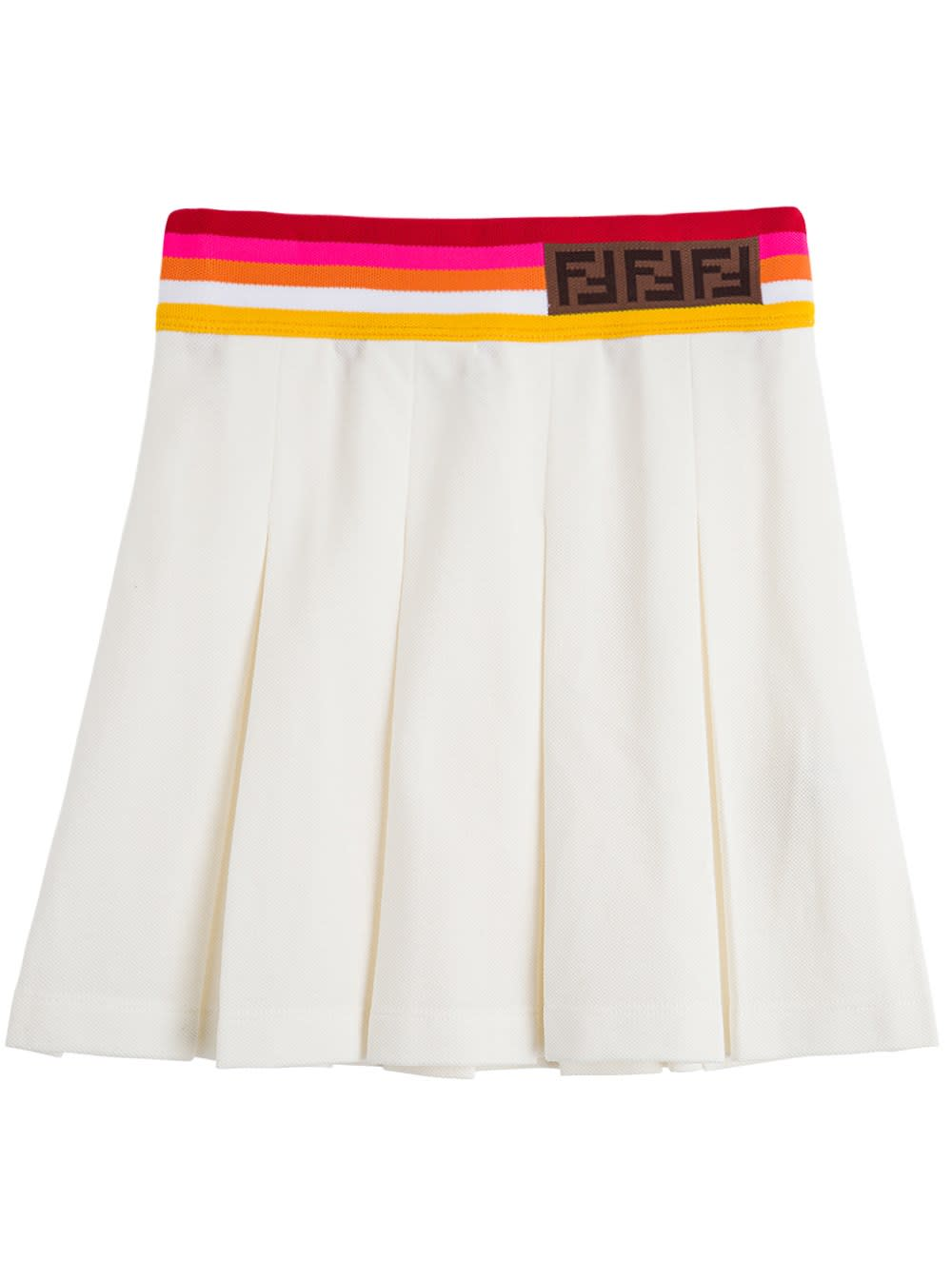 Fendi PLEATED COTTON PIQUET SKIRT