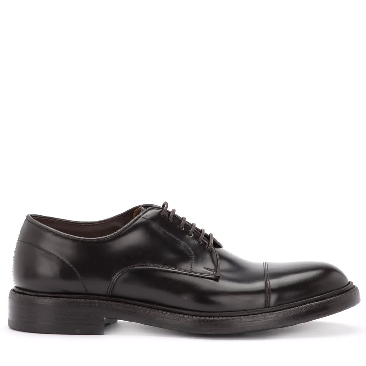 Derby In Brushed Brown Leather With Tip