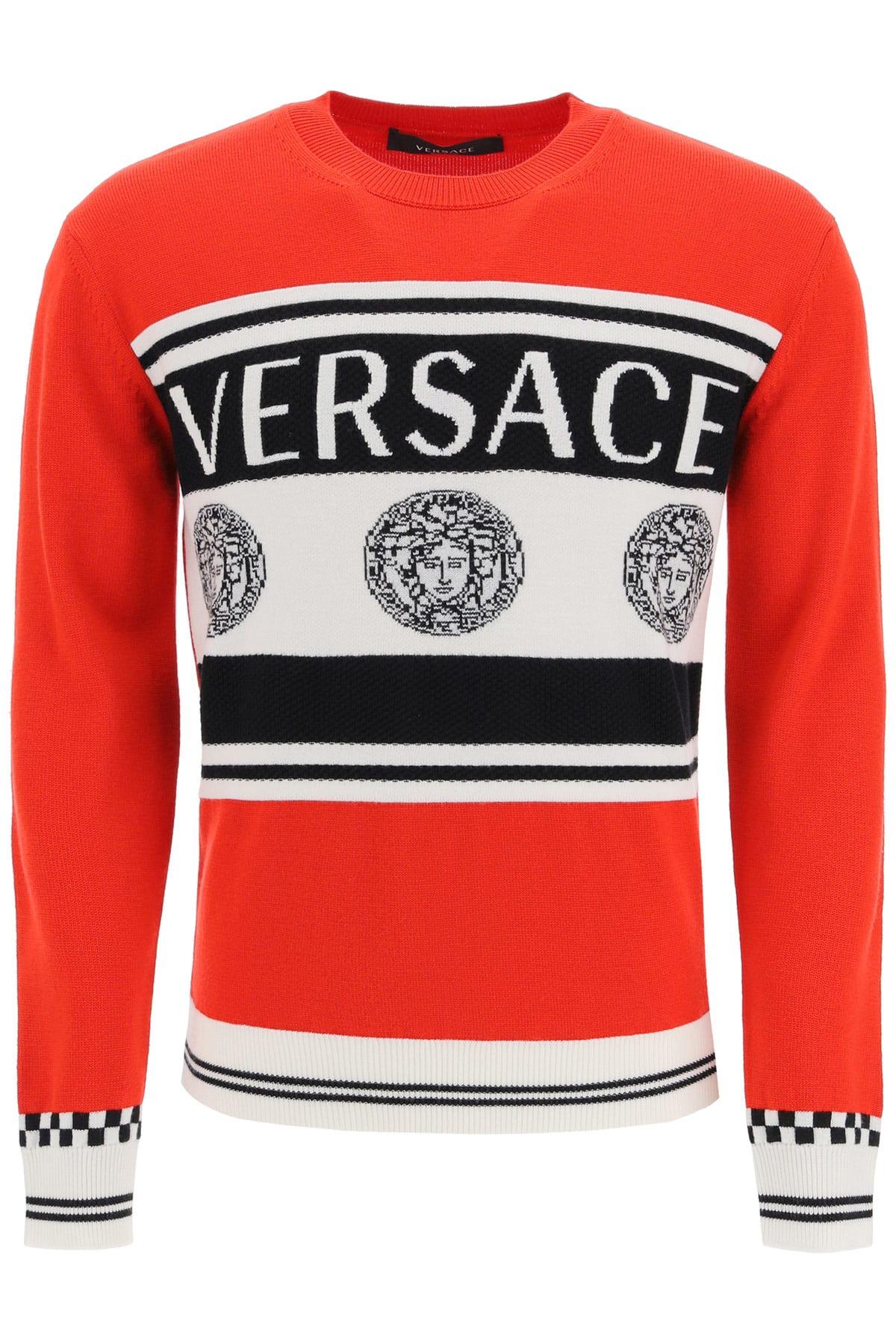 Versace Sweater With Logo Intarsia