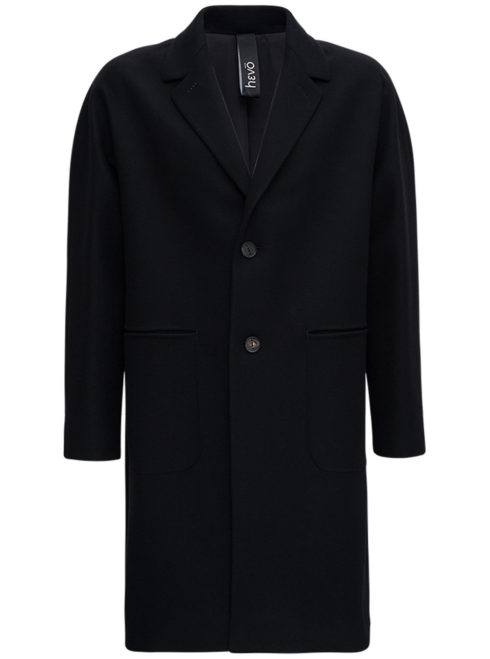 Single Breasted Black Wool Coat