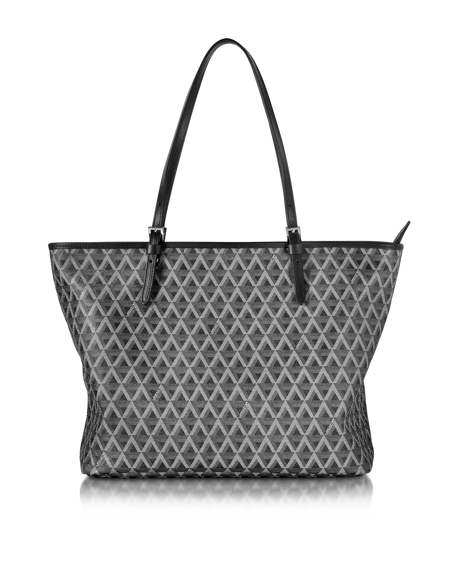 Lancaster IKON PRINTED COATED CANVAS AND LEATHER TOTE