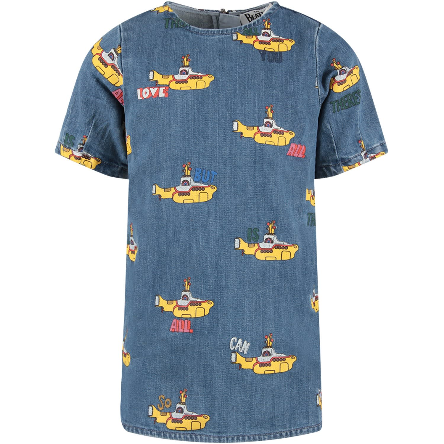 Stella McCartney Kids Denim Girl Dress With Colorful Submarine