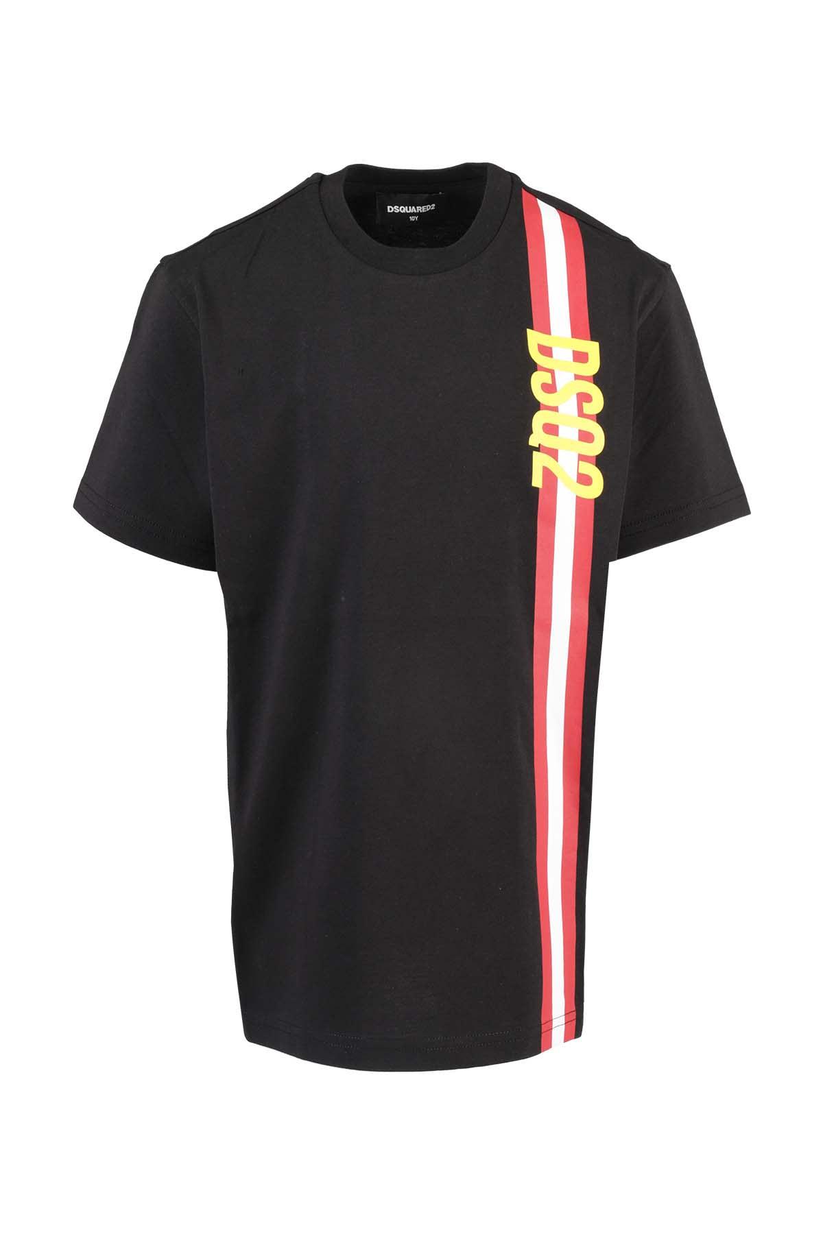 Dsquared2 Kids' Logo Band T-shirt In Nero