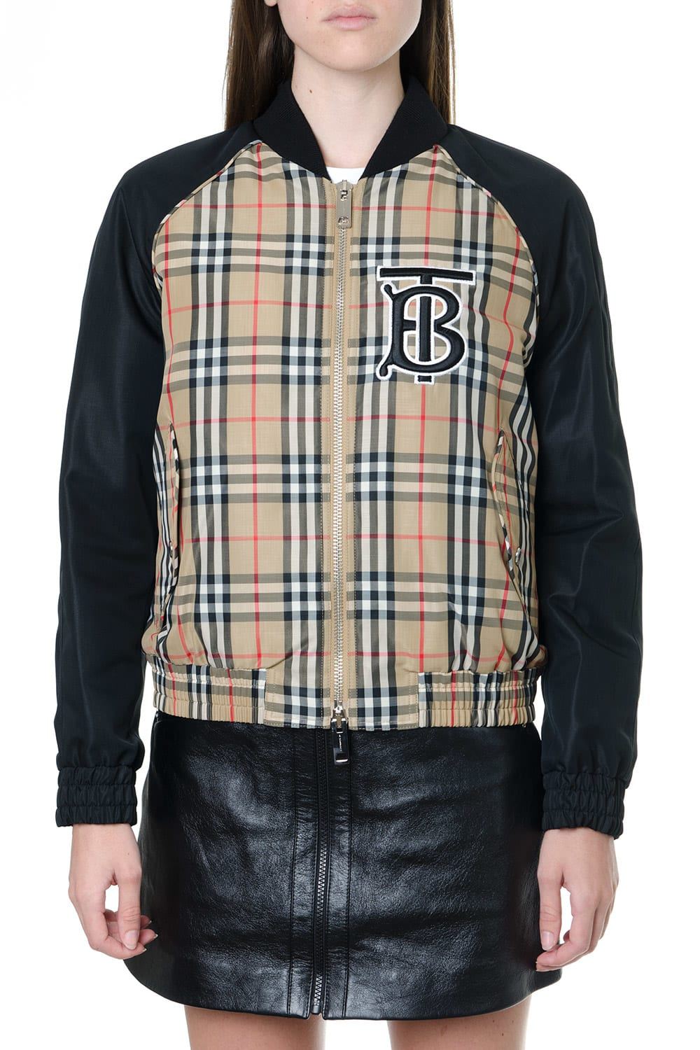 Burberry Beige And Black Monogram Bomber Jacket