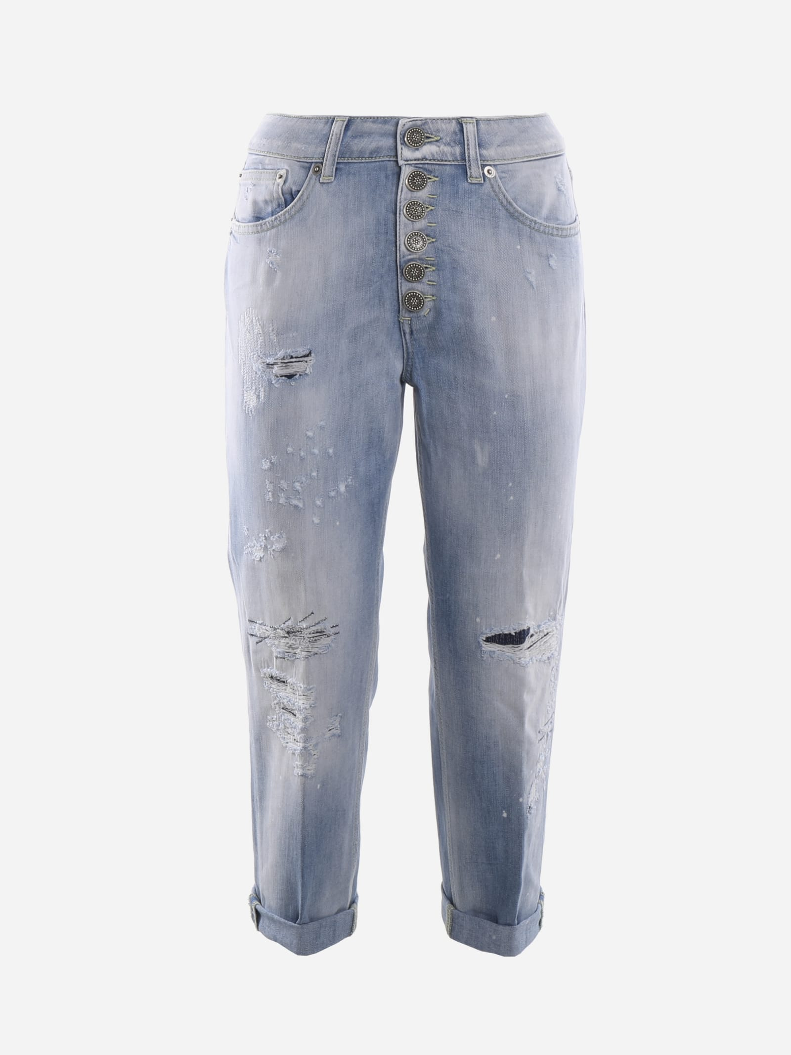 Dondup Used Effect Denim Jeans With Cuts