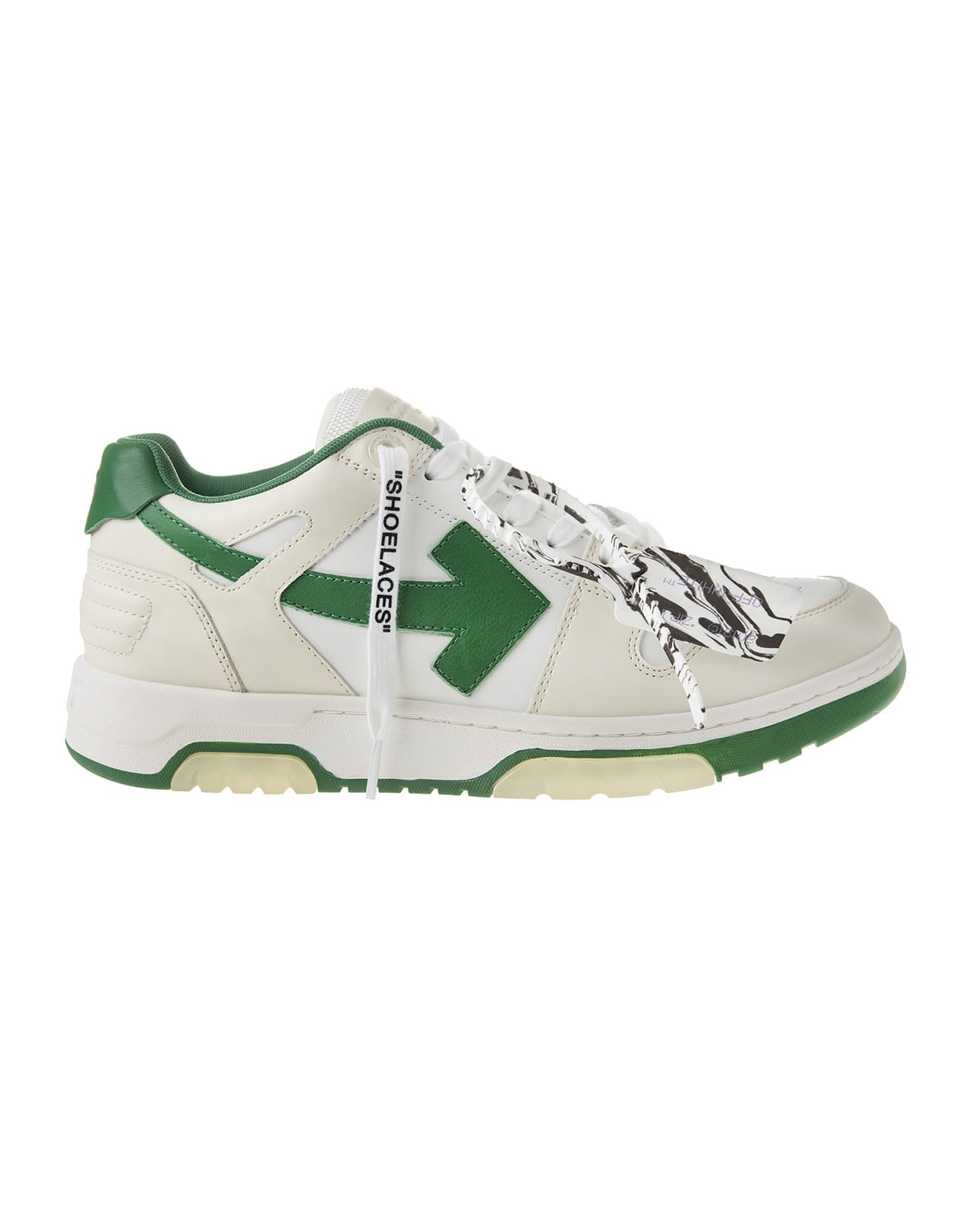 Off-White WHITE AND GREEN MAN OUT OF OFFICE LOW SNEAKERS