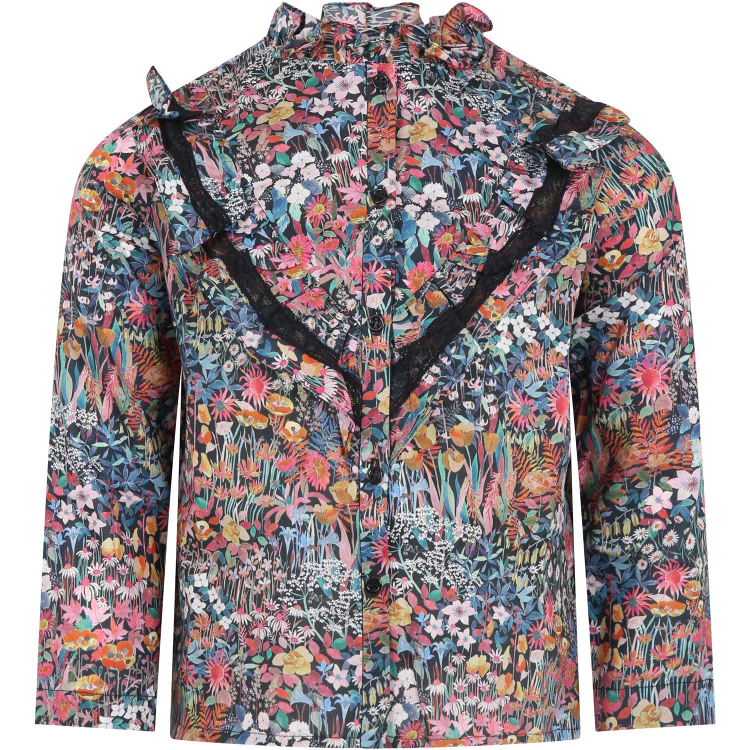 Blue Shirt For Girl With Flower